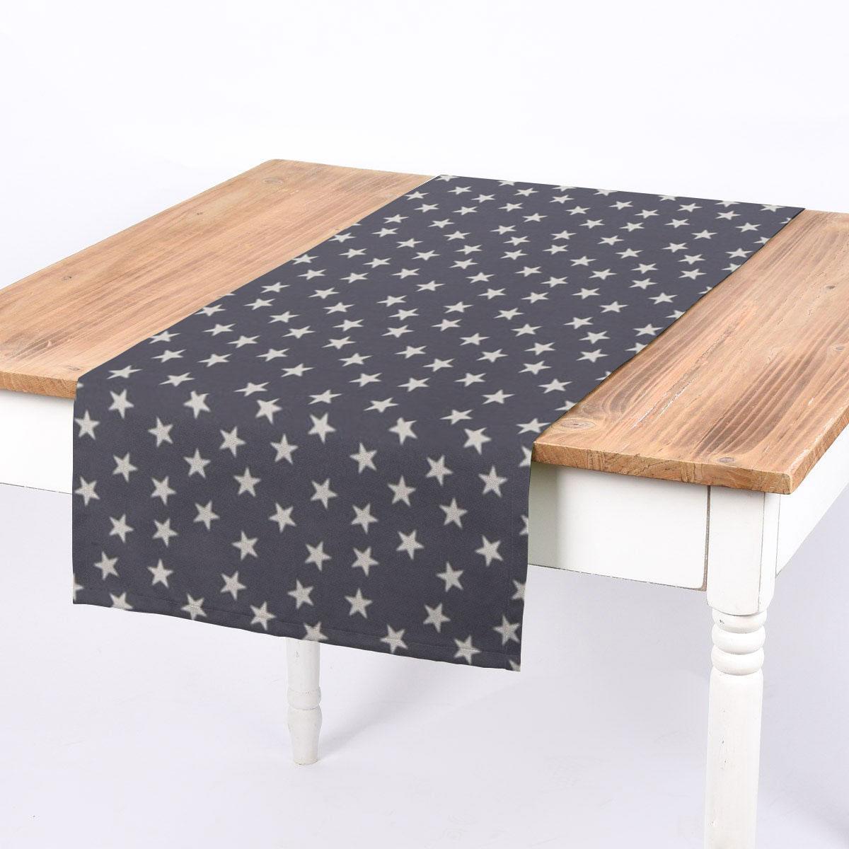 SCHÖNER LEBEN. Tischläufer Little Star Twilight Sterne blau weiß 40x160cm