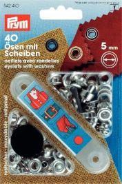 Prym Ösen und Scheiben MS silberfarbig 5,0 mm