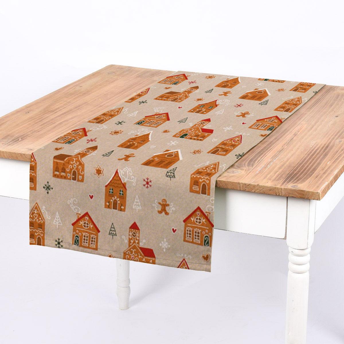 SCHÖNER LEBEN. Tischläufer Lebkuchenhaus natur weiß 40x160cm