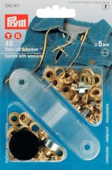 Ösen und Scheiben MS goldfarbig 5,0 mm