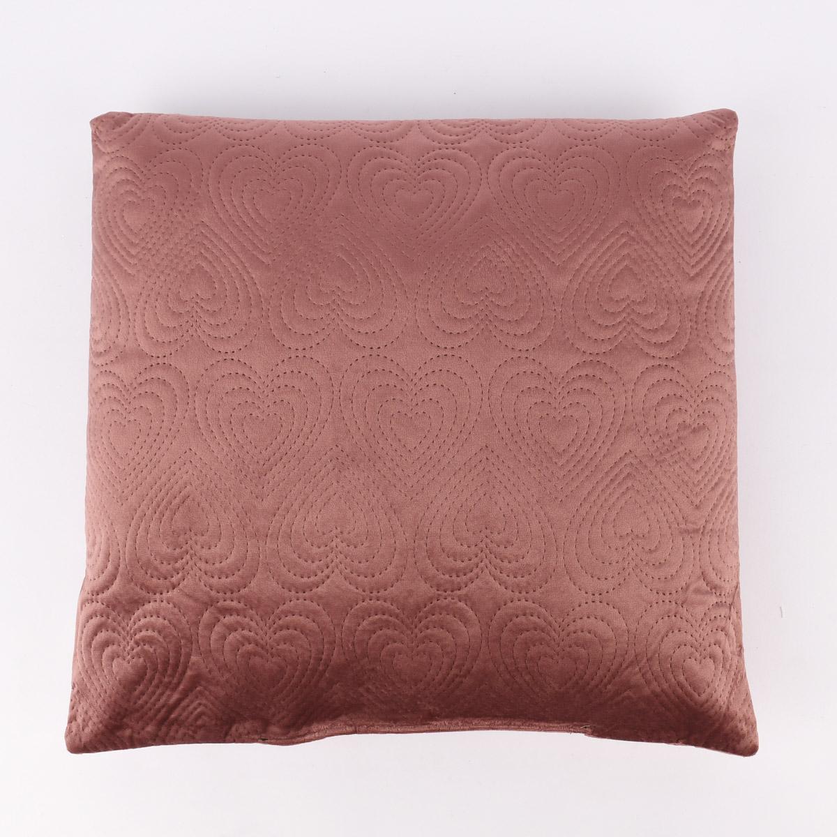 Deko Kissen Samtoptik mit Herzchen-Lasercut beere rosa oder dunkellila 43x43cm