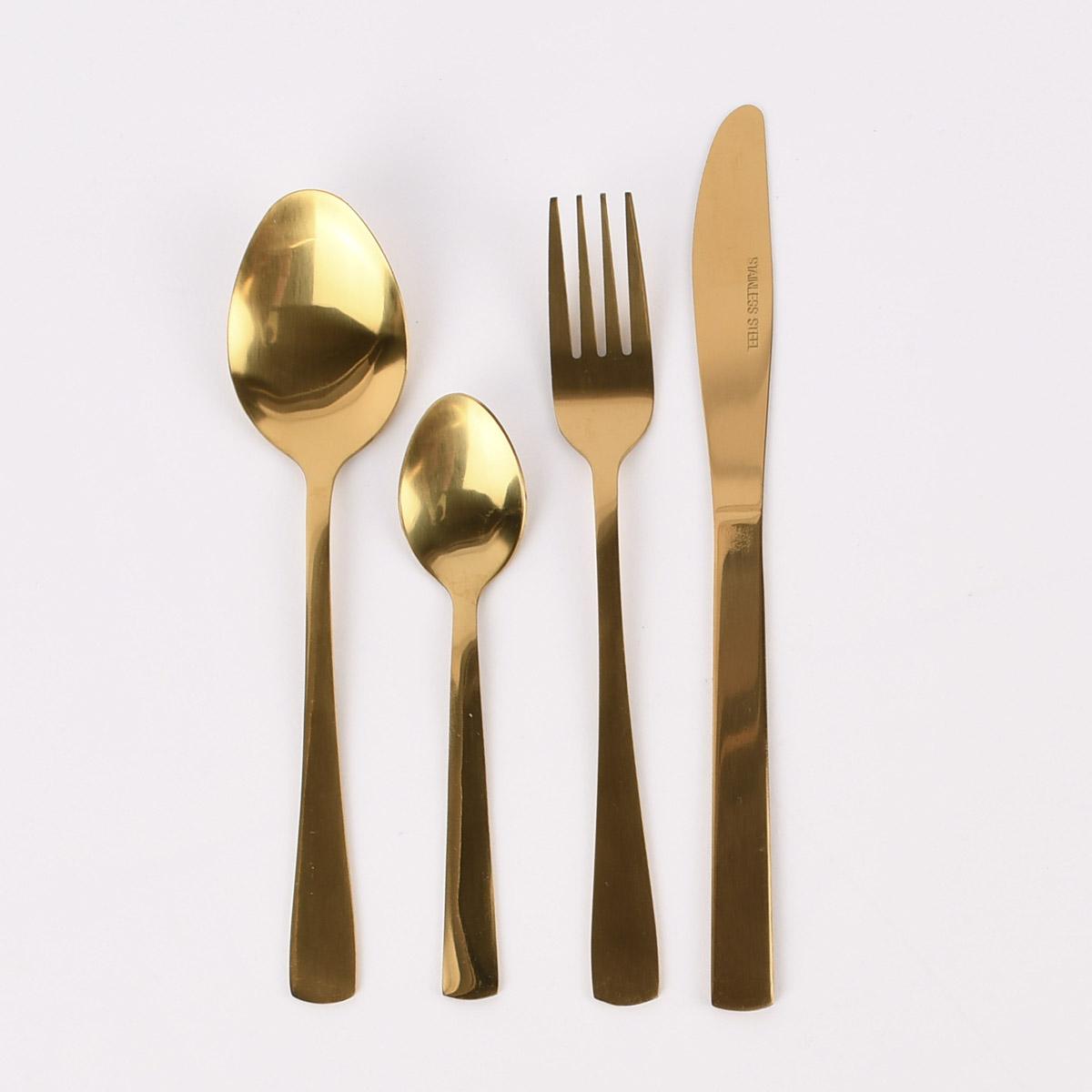 Besteck-Set Dinnerbesteck goldfarbig 16teilig
