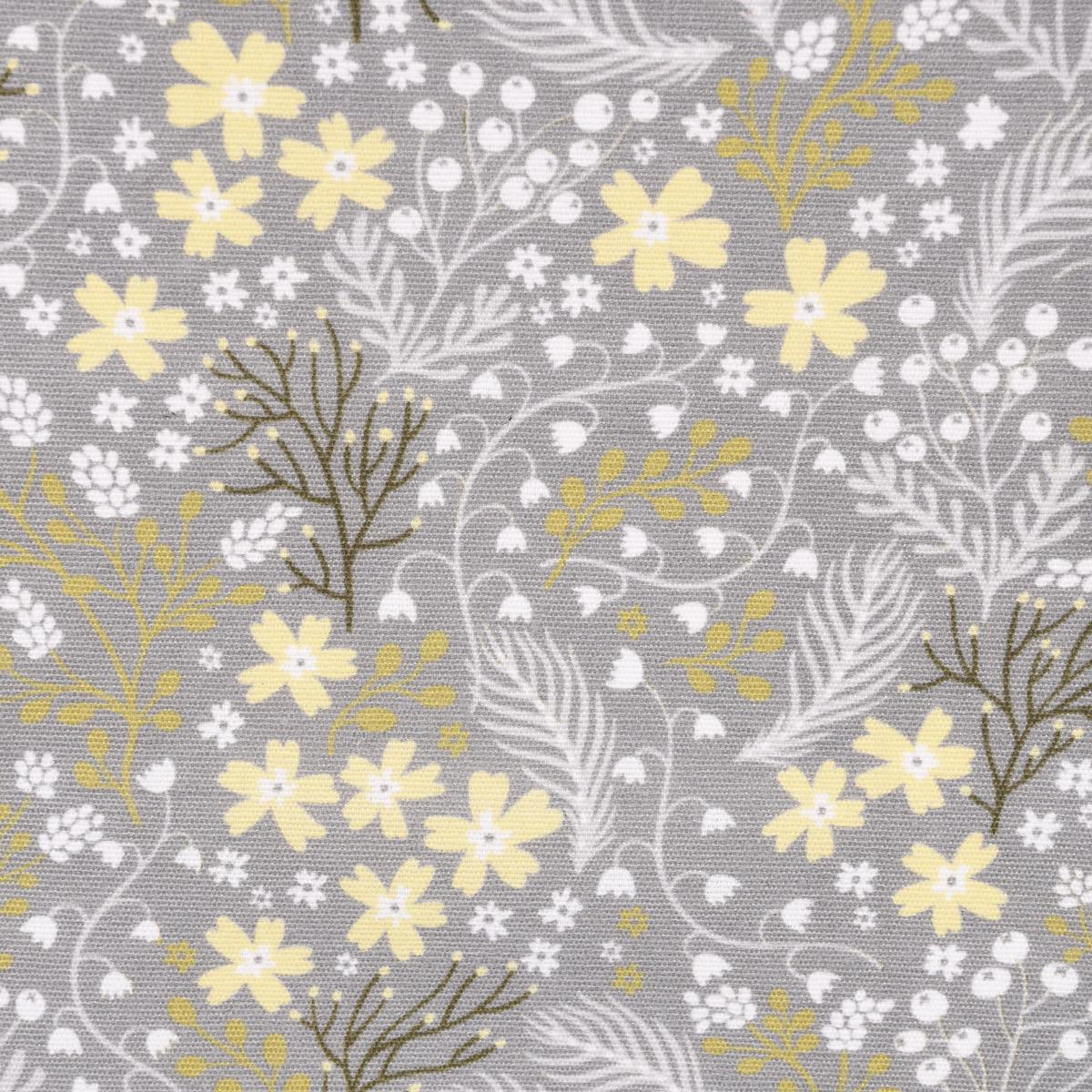 Dekostoff Basalt Blumen Gräser grau gelb 1,40m Breite
