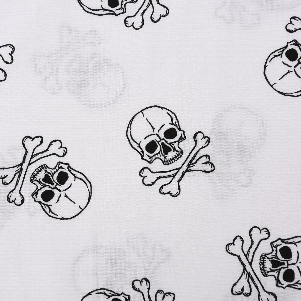 Baumwollstoff Popeline Totenkopf Knochen weiß schwarz 1,5m Breite