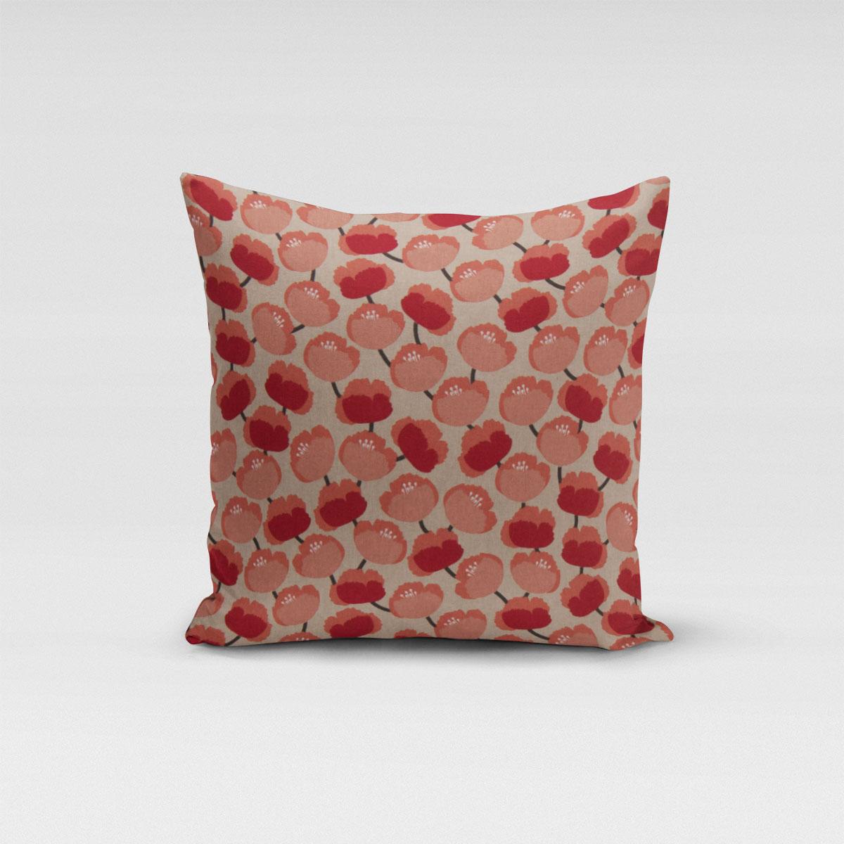 SCHÖNER LEBEN. Kissenhülle Pfingstrosen abstrakt natur rot koralle verschiedene Größen