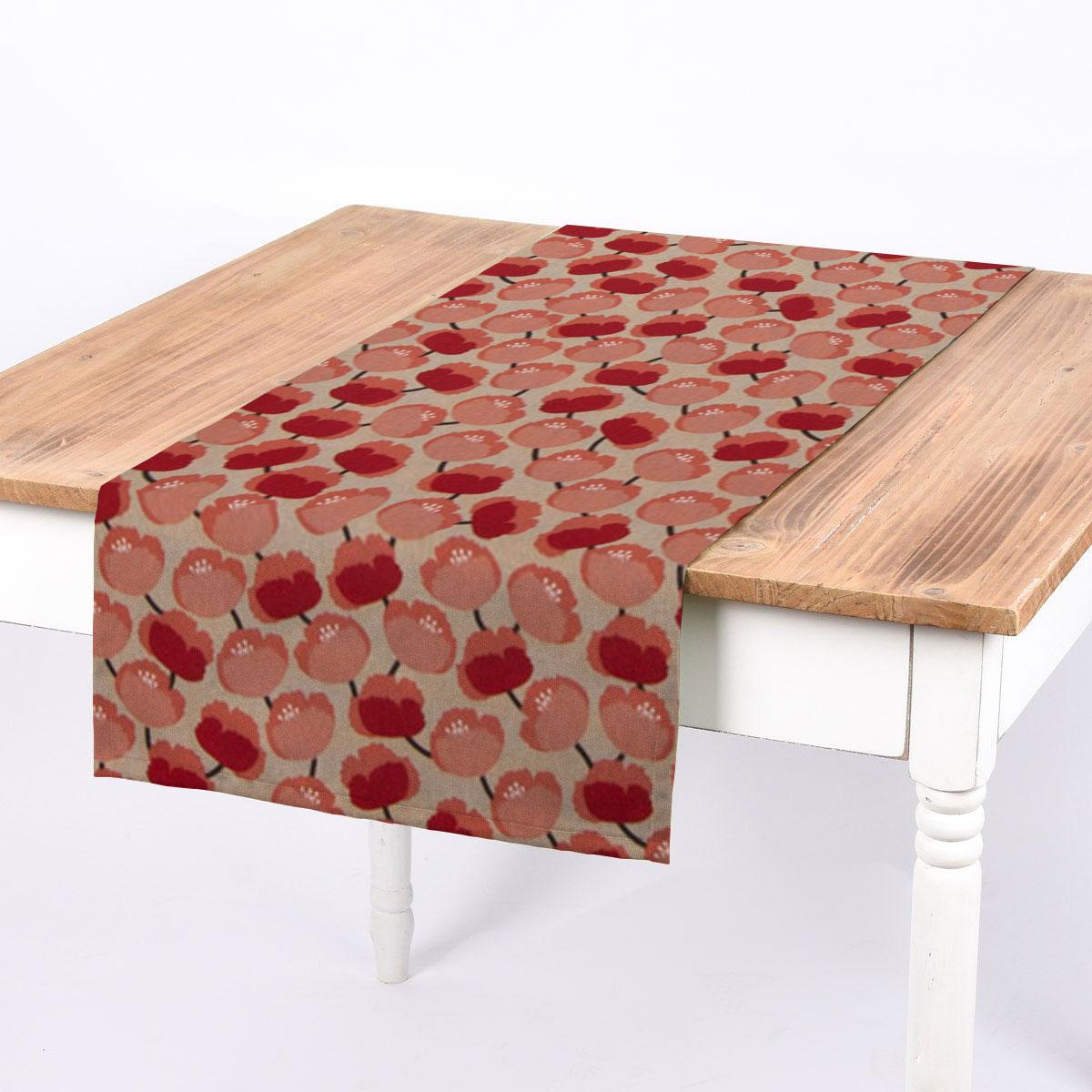 SCHÖNER LEBEN. Tischläufer Pfingstrosen abstrakt natur rot koralle 40x160cm