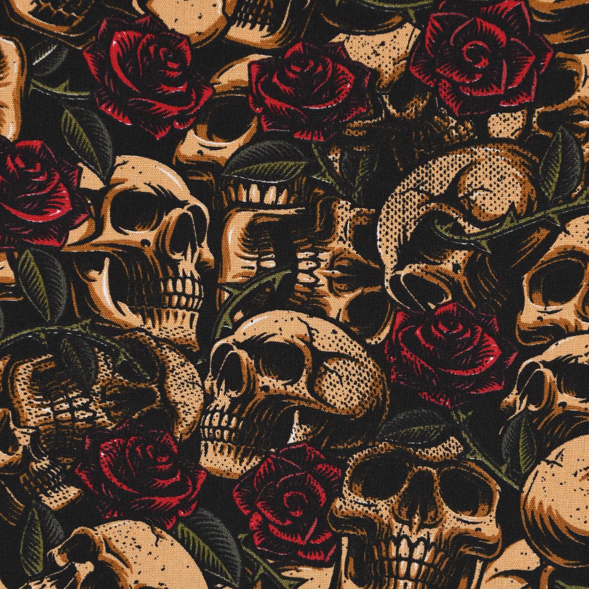 Baumwollstoff Popeline Totenkopf Rosen schwarz braun rot grün 1,50m Breite