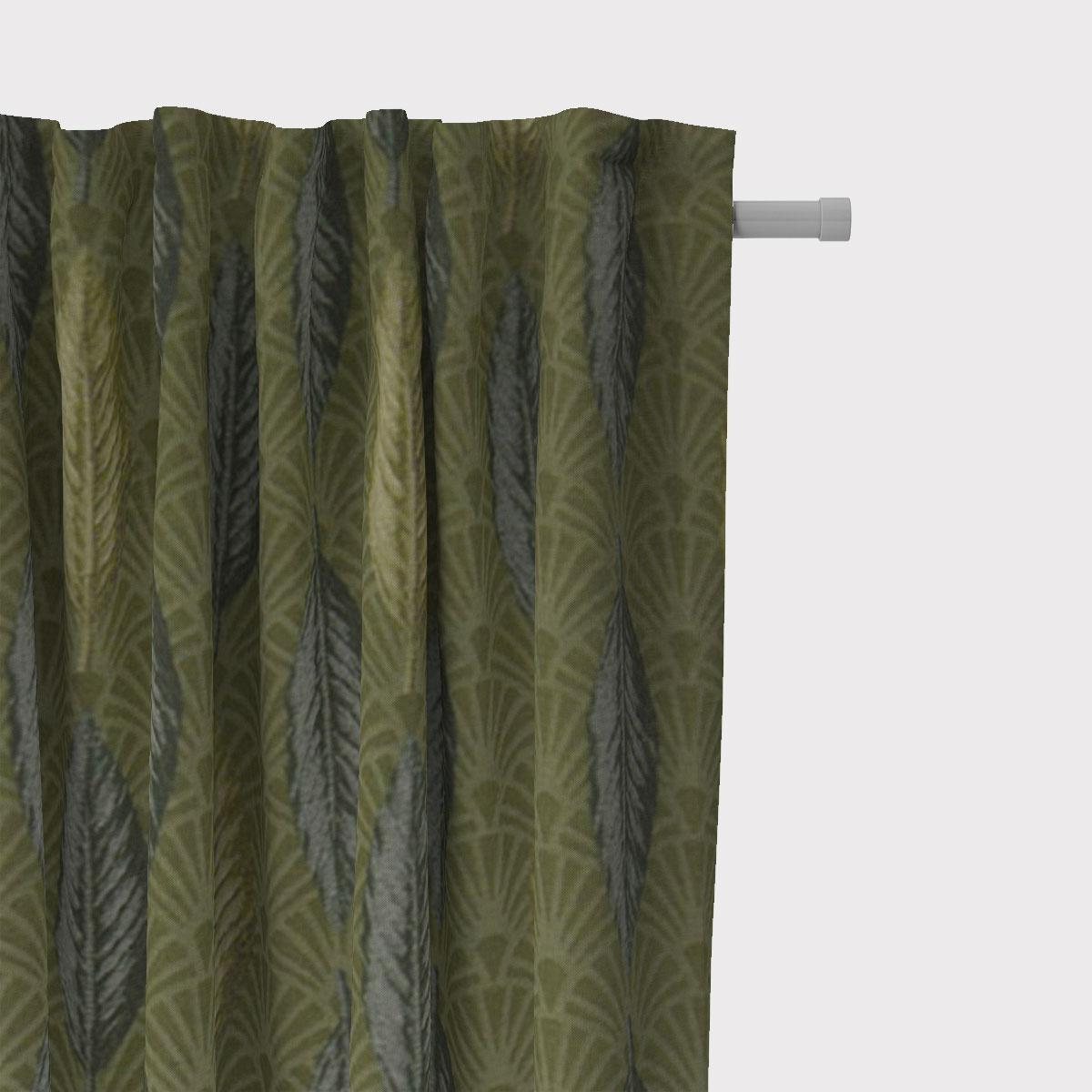 SCHÖNER LEBEN. Vorhang Art Déco Blätter Fächer grün creme 245cm oder Wunschlänge