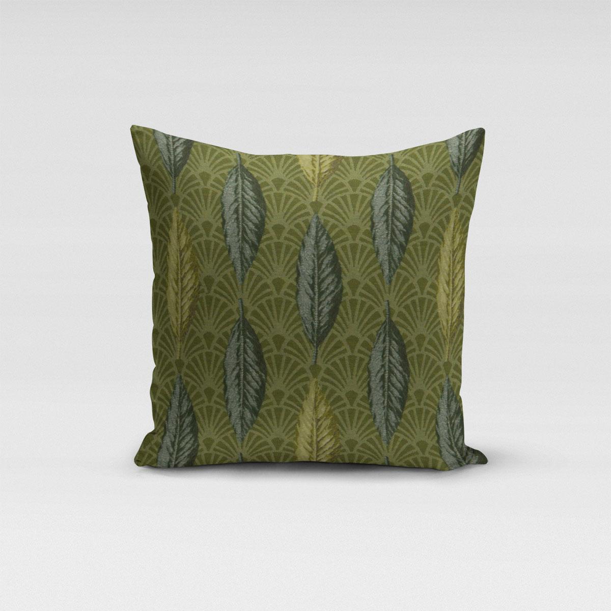SCHÖNER LEBEN. Kissenhülle Art Déco Blätter Fächer grün creme verschiedene Größen