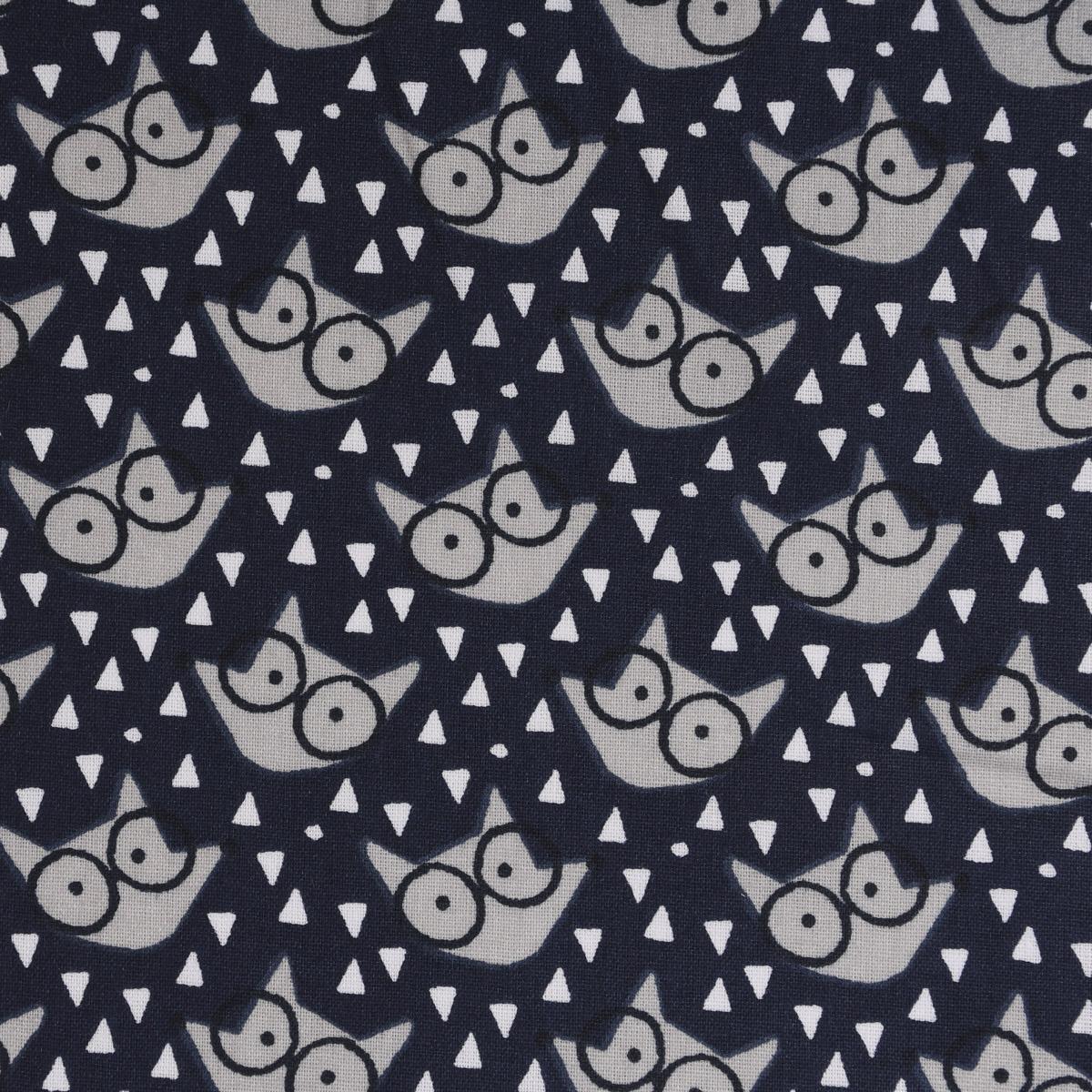 Baumwollstoff FAUZY Fuchs Brille Dreiecke dunkelblau grau weiß 1,5m Breite