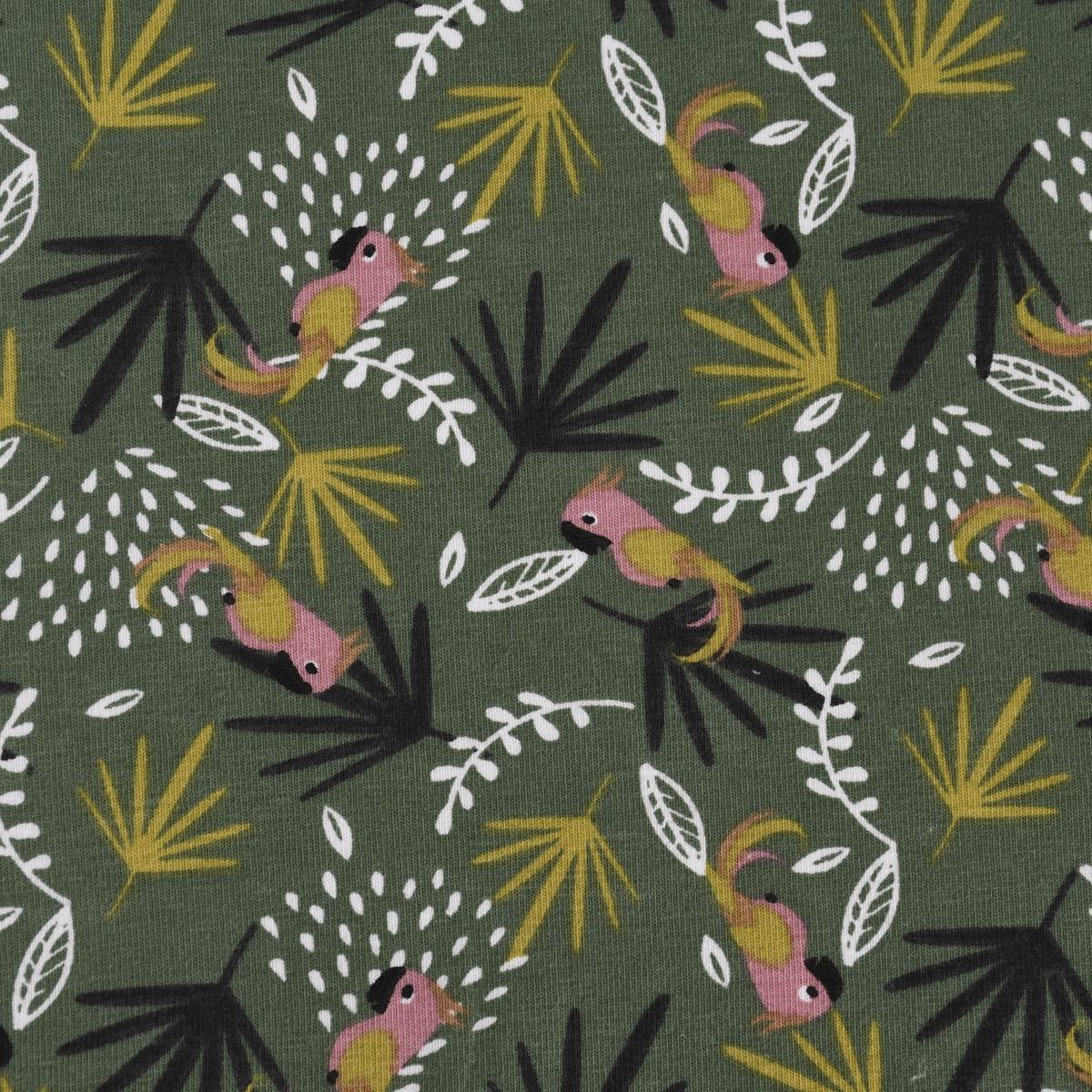 Baumwolljersey Jersey LAKOA Papagei Palmenblätter Ranken grün rosa weiß 1,5m Breite