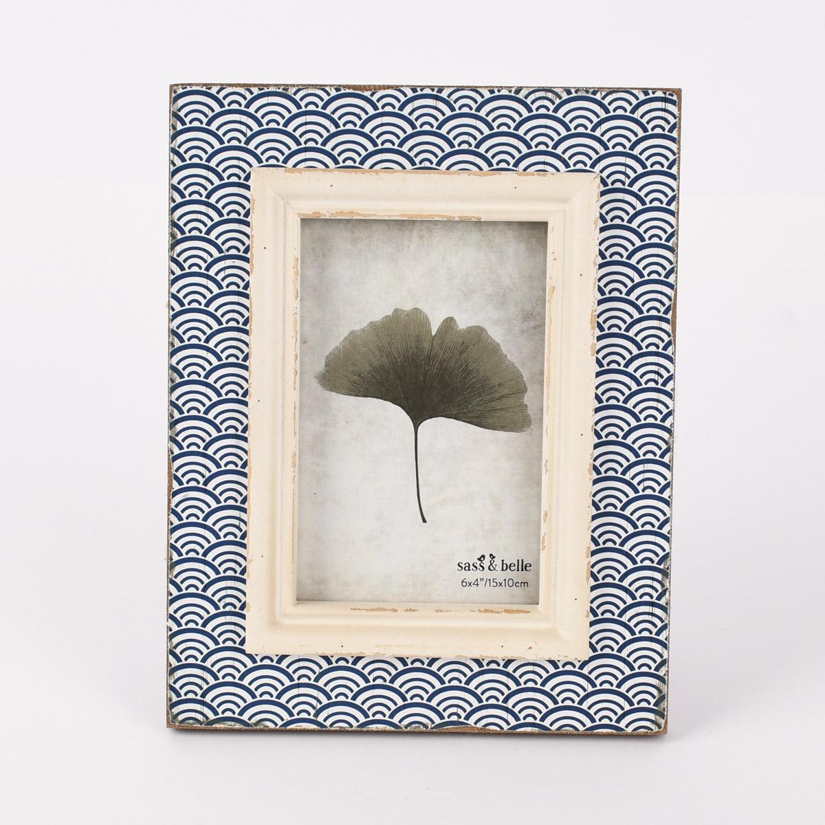 Sass & Belle Bilderrahmen Wellenmuster Shabby-Optik Holz weiß braun blau 18,5x23,5cm