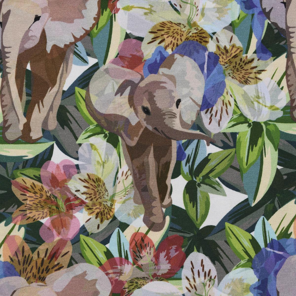 Baumwolljersey Jersey Digitaldruck Dschungel Elefant Blumen weiß bunt 1,5m Breite
