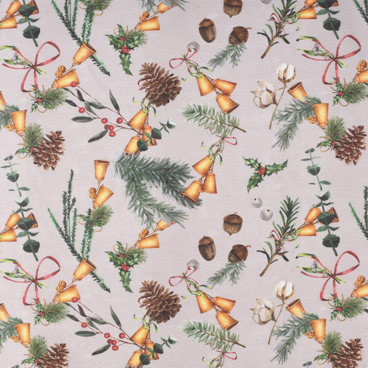 Dekostoff Vanoce Glöckchen Eicheln Misteln Zweige natur grün 1,40m Breite