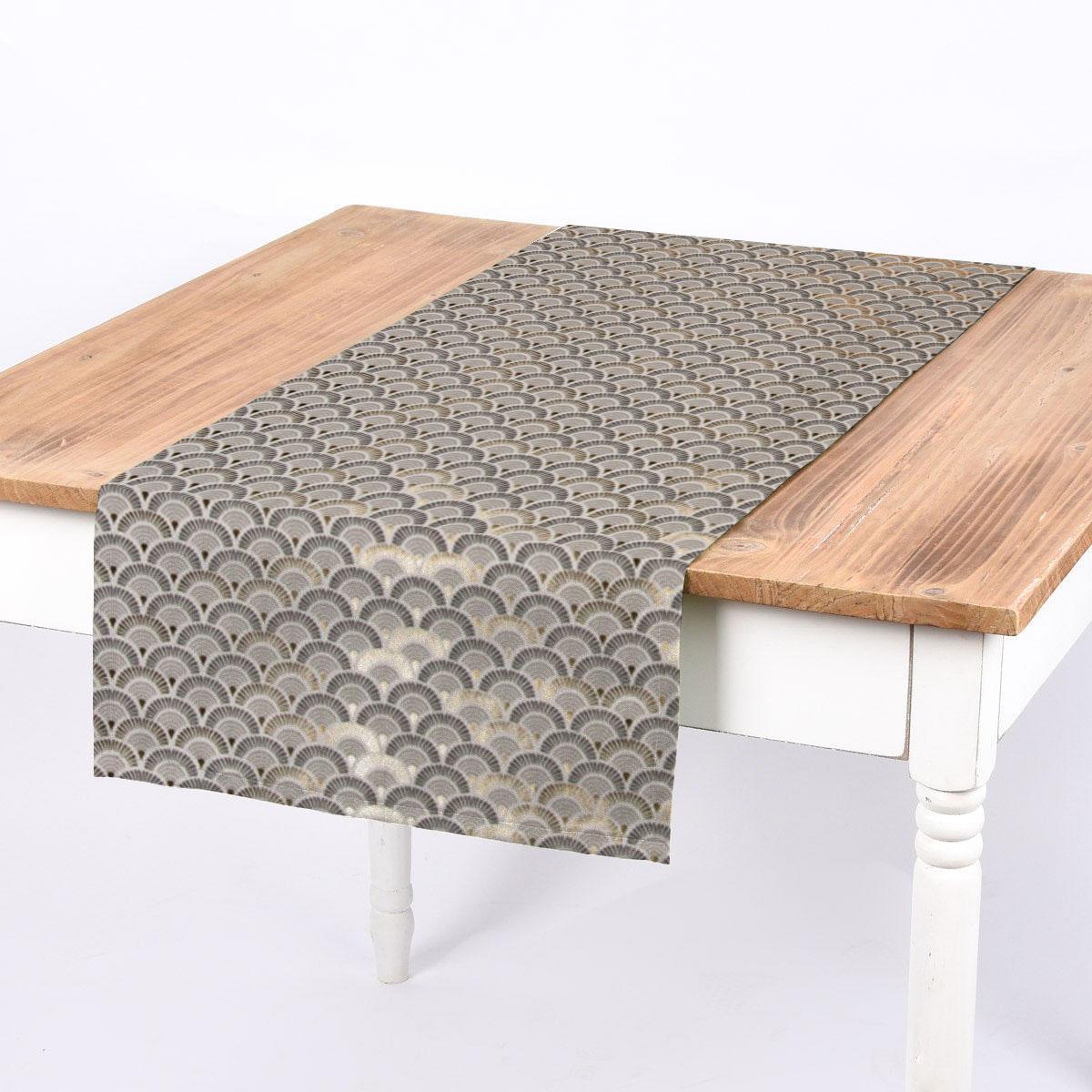 SCHÖNER LEBEN. Tischläufer Art Déco Fächer weiß anthrazit grau goldfarbig 40x160cm