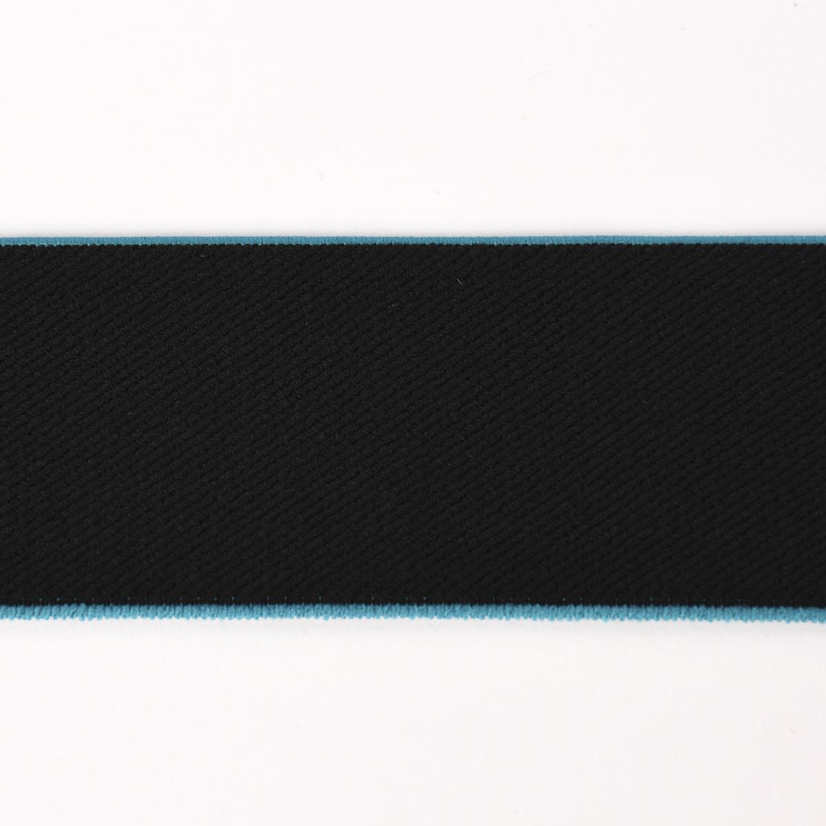 Gummiband mit farbigem Rand schwarz petrol Breite: 4cm