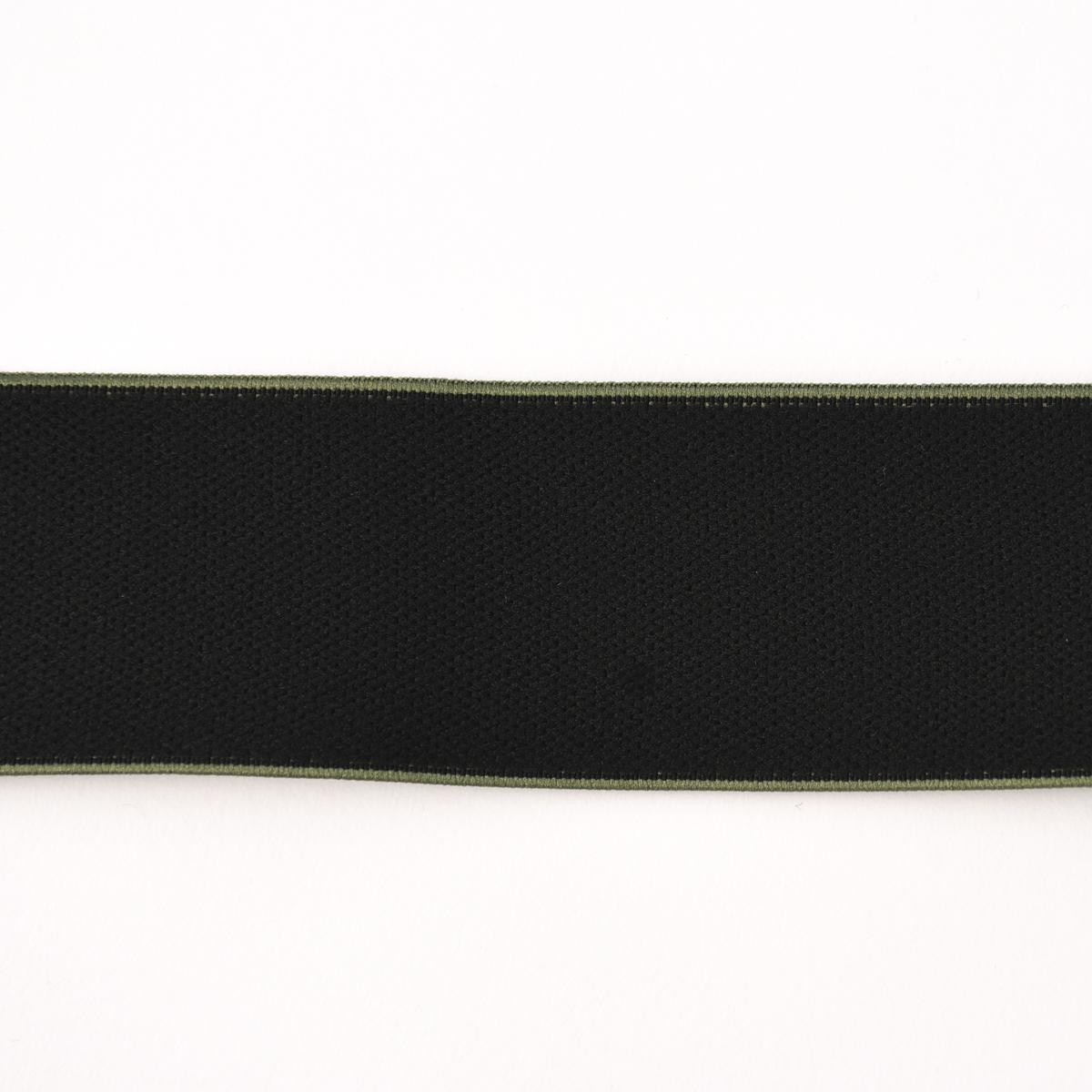 Gummiband mit farbigem Rand schwarz khaki Breite: 4cm