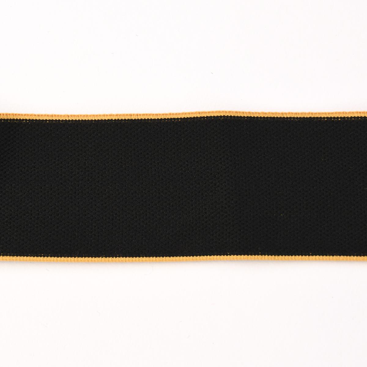 Gummiband mit farbigem Rand schwarz gelb Breite: 4cm