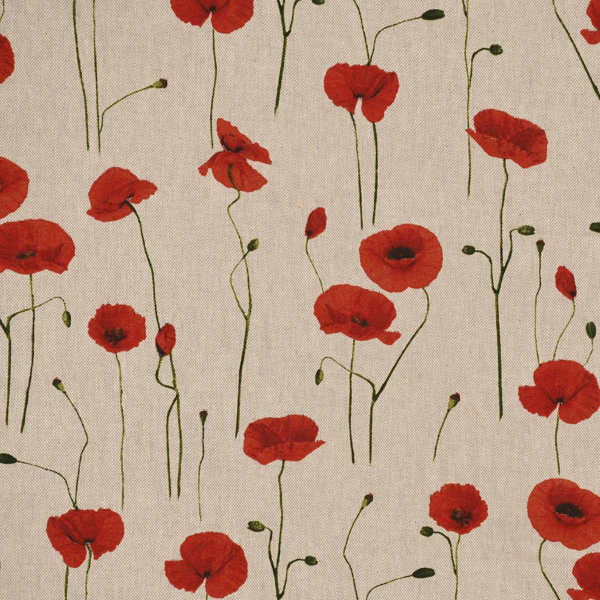 Dekostoff Halbpanama Leinenlook Poppy Field Mohnblumen natur rot 1,40m Breite