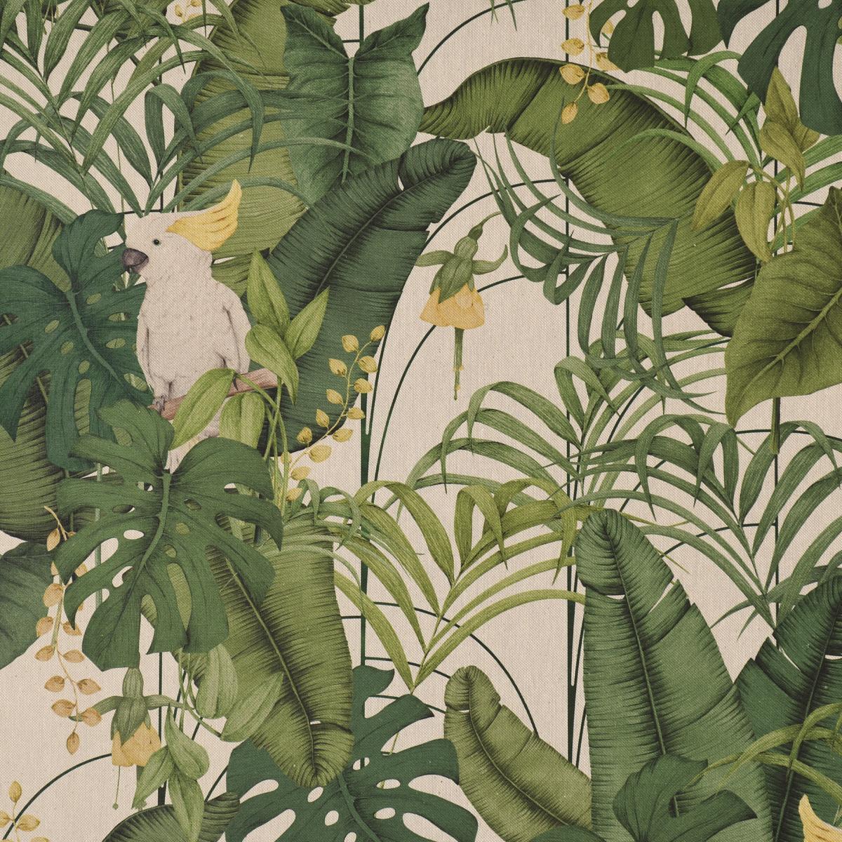 Dekostoff Halbpanama Leinenlook Royal Cockatoo Palmenblätter Kakadus natur grün gelb 1,40m Breite