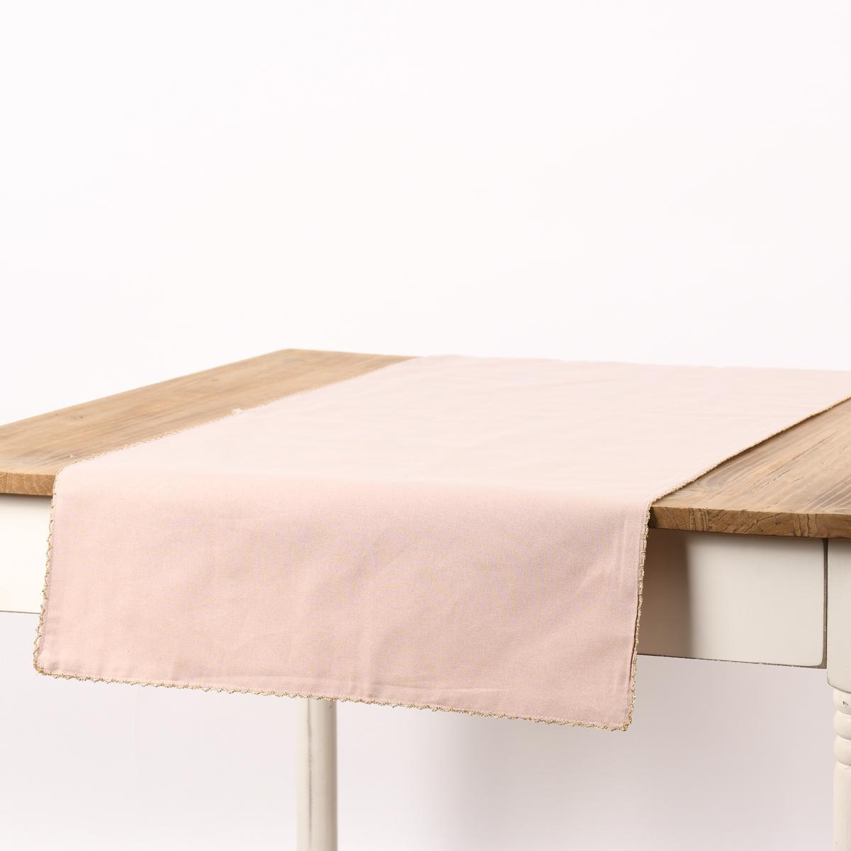 Tischläufer Runa mit Borte rosa goldfarbig 45x150cm