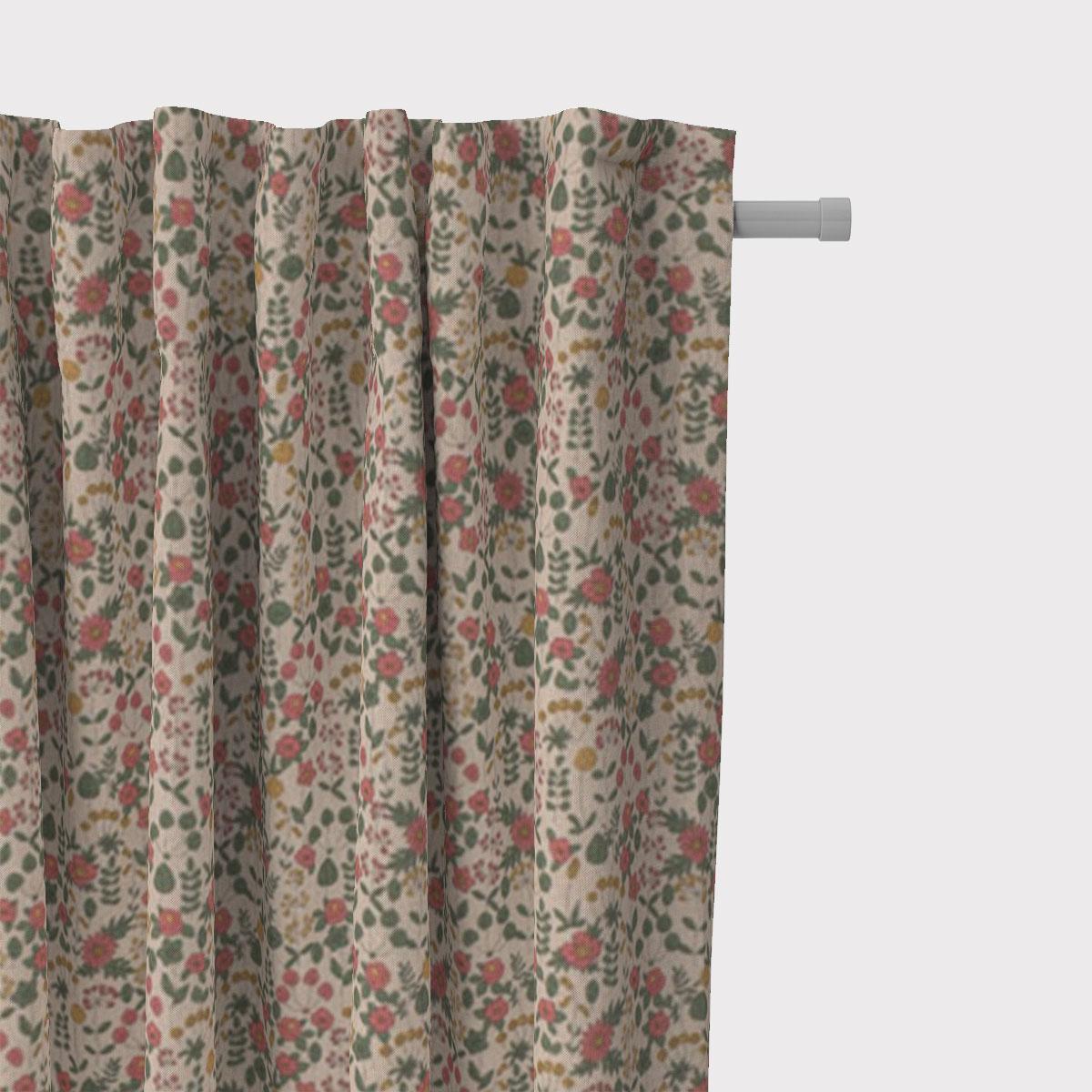 SCHÖNER LEBEN. Vorhang Leinenlook Lovely Flower Wiesenblumen natur rosa grün gelb 245cm oder Wunschlänge