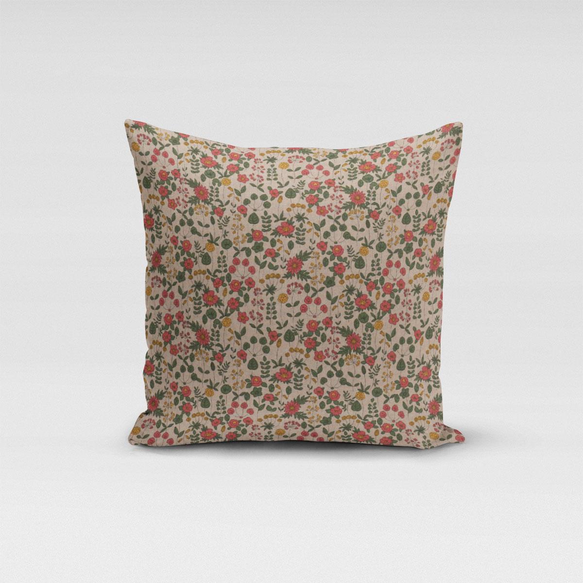 SCHÖNER LEBEN. Kissenhülle Leinenlook Lovely Flower Wiesenblumen natur rosa grün gelb verschiedene Größen