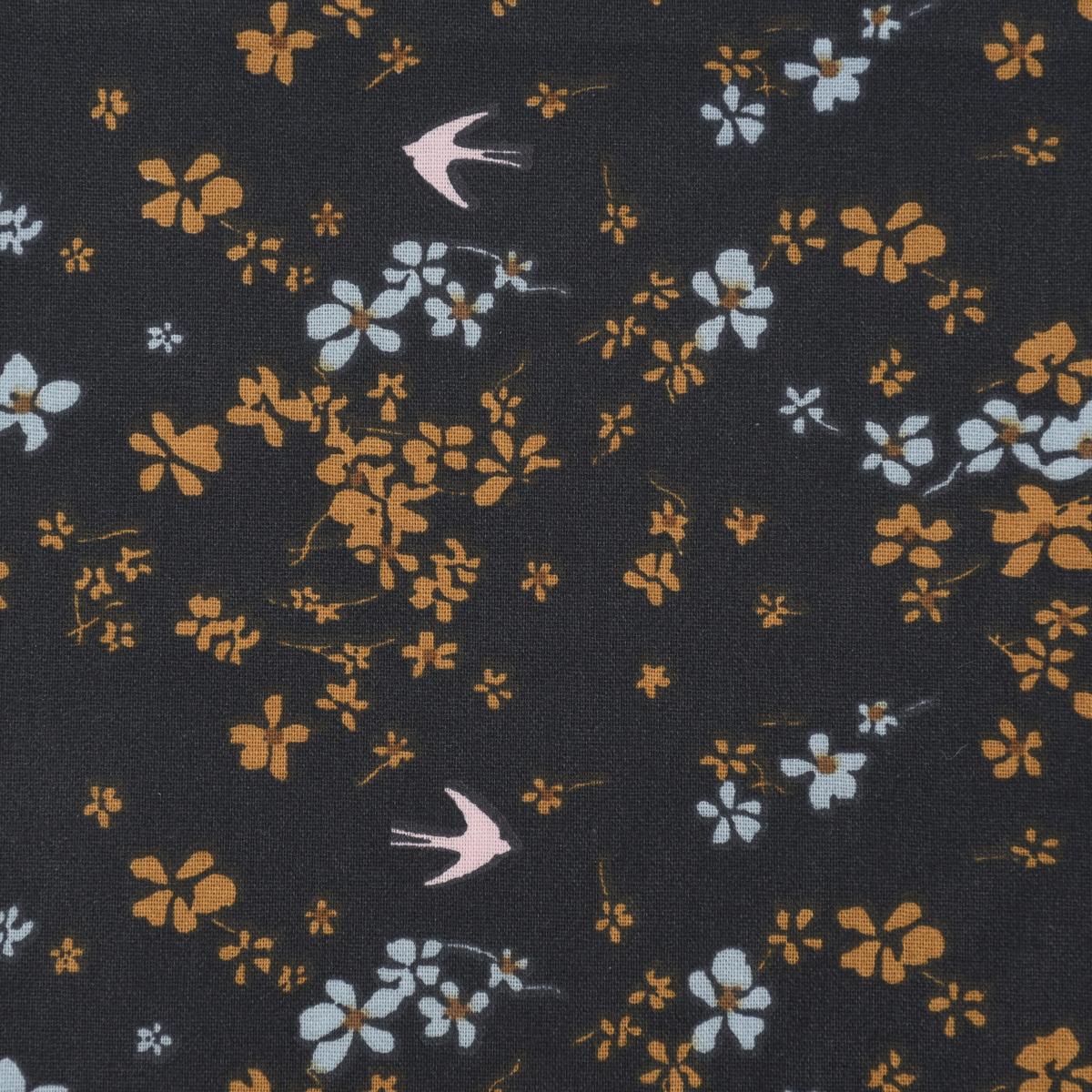 Baumwollstoff SHIMA Blumen Schwalben dunkelgrau hellblau ocker 1,50m Breite