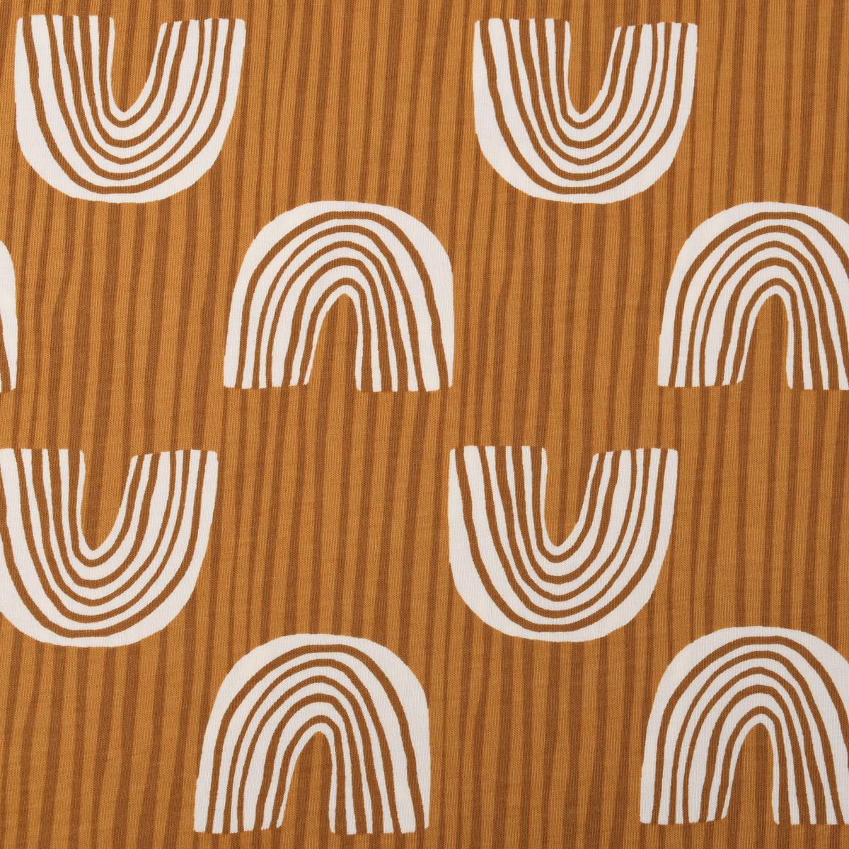 Baumwolljersey Jersey Regenbogen gestreift ocker weiß 1,5m Breite