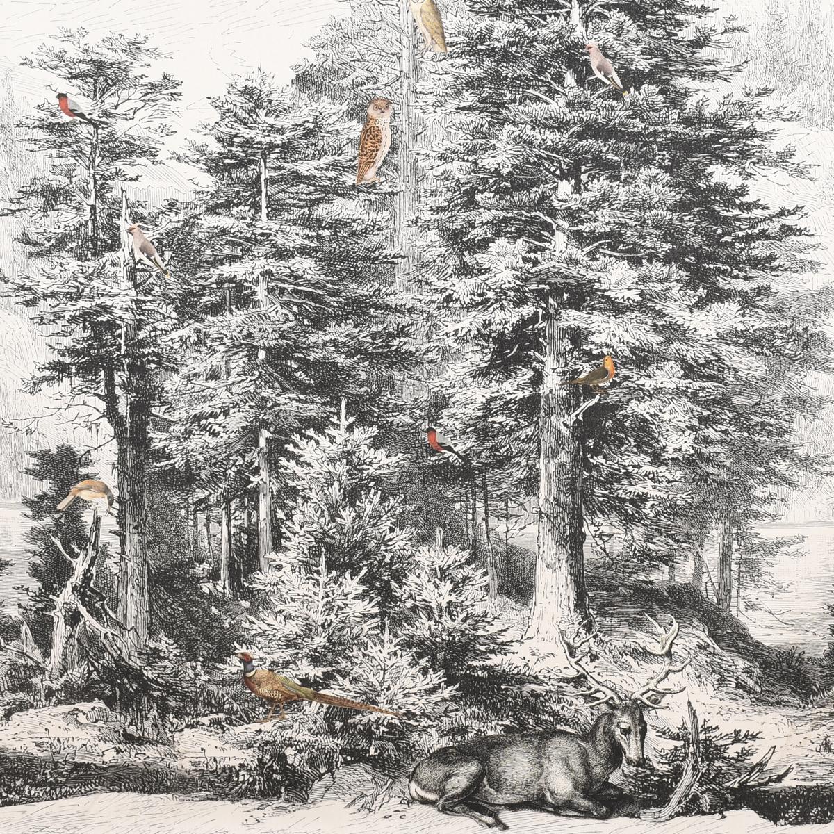 1 Stk Dekostoff Halbpanama Paneel Forest Mystic Waldszenerie weiß schwarz 205x140m