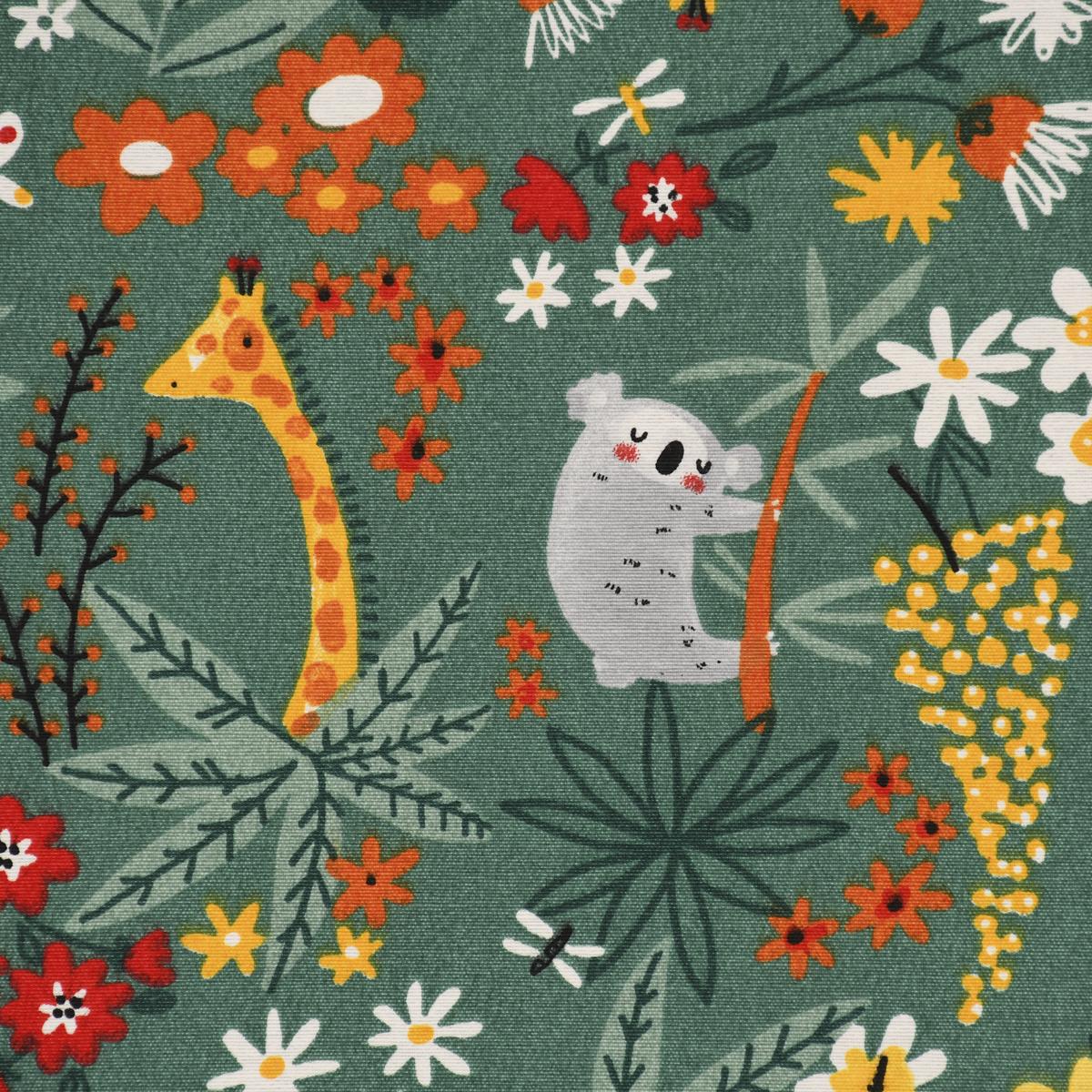 Dekostoff Ottoman Canvas Koala and Friends Dschungelfreunde grün 1,40m Breite
