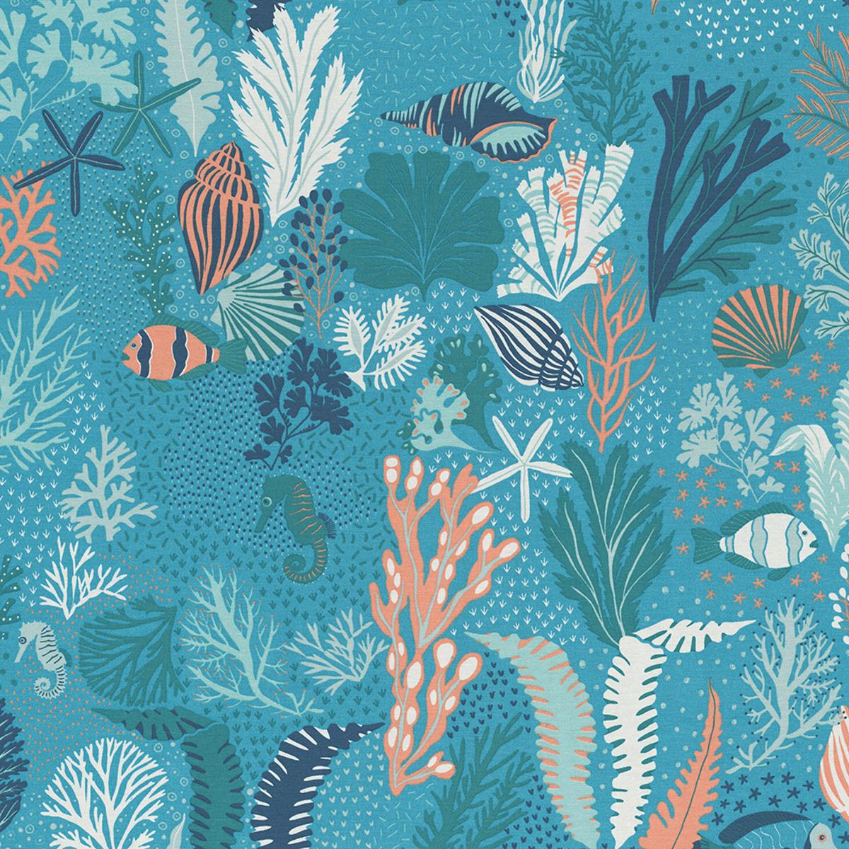 Dekostoff Ottoman Canvas Scuba Dive Unterwasserwelt blau türkis orange 1,40m Breite