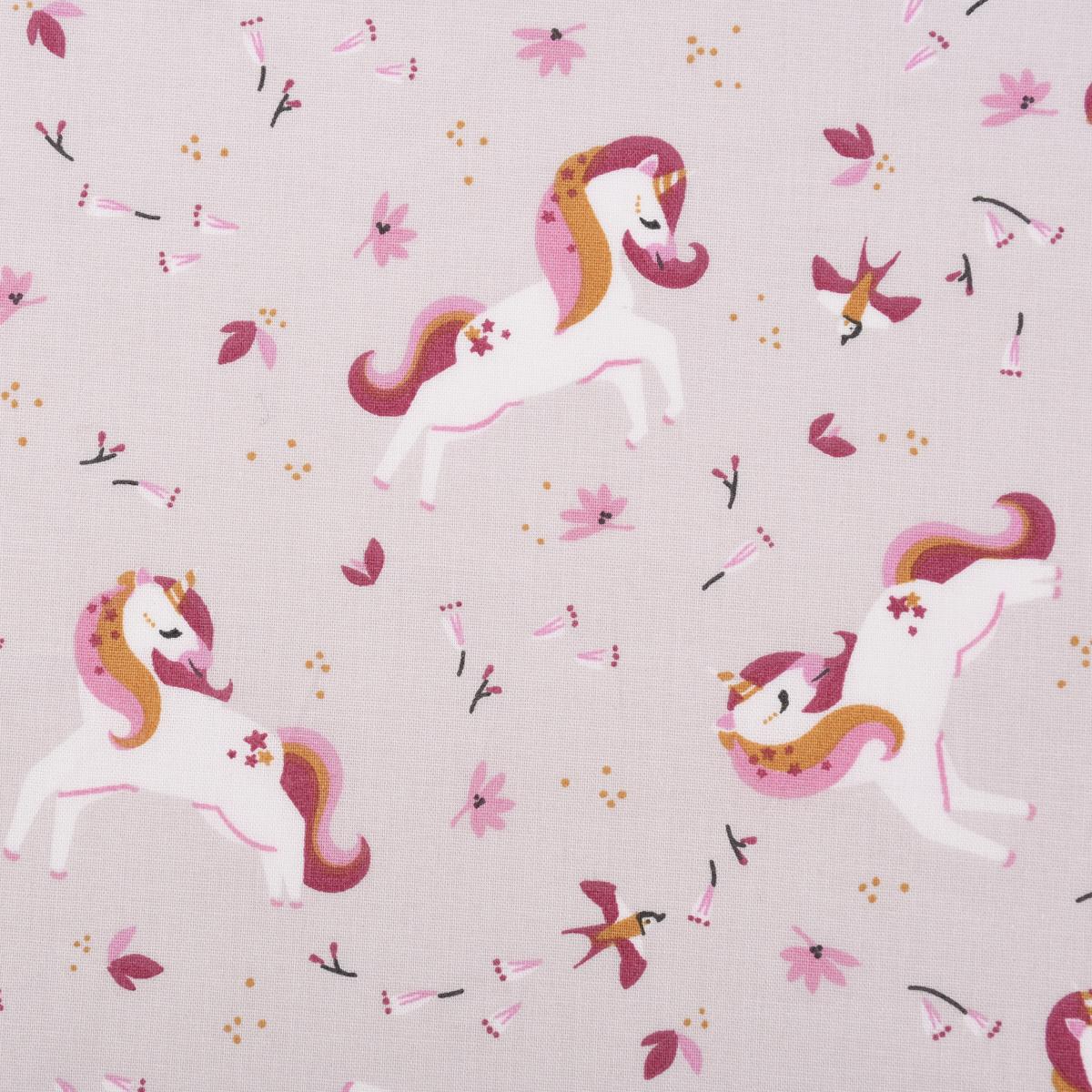 Baumwollstoff INGELA Einhorn Vögel Blumen hellbeige rosa weiß ocker 1,5m Breite