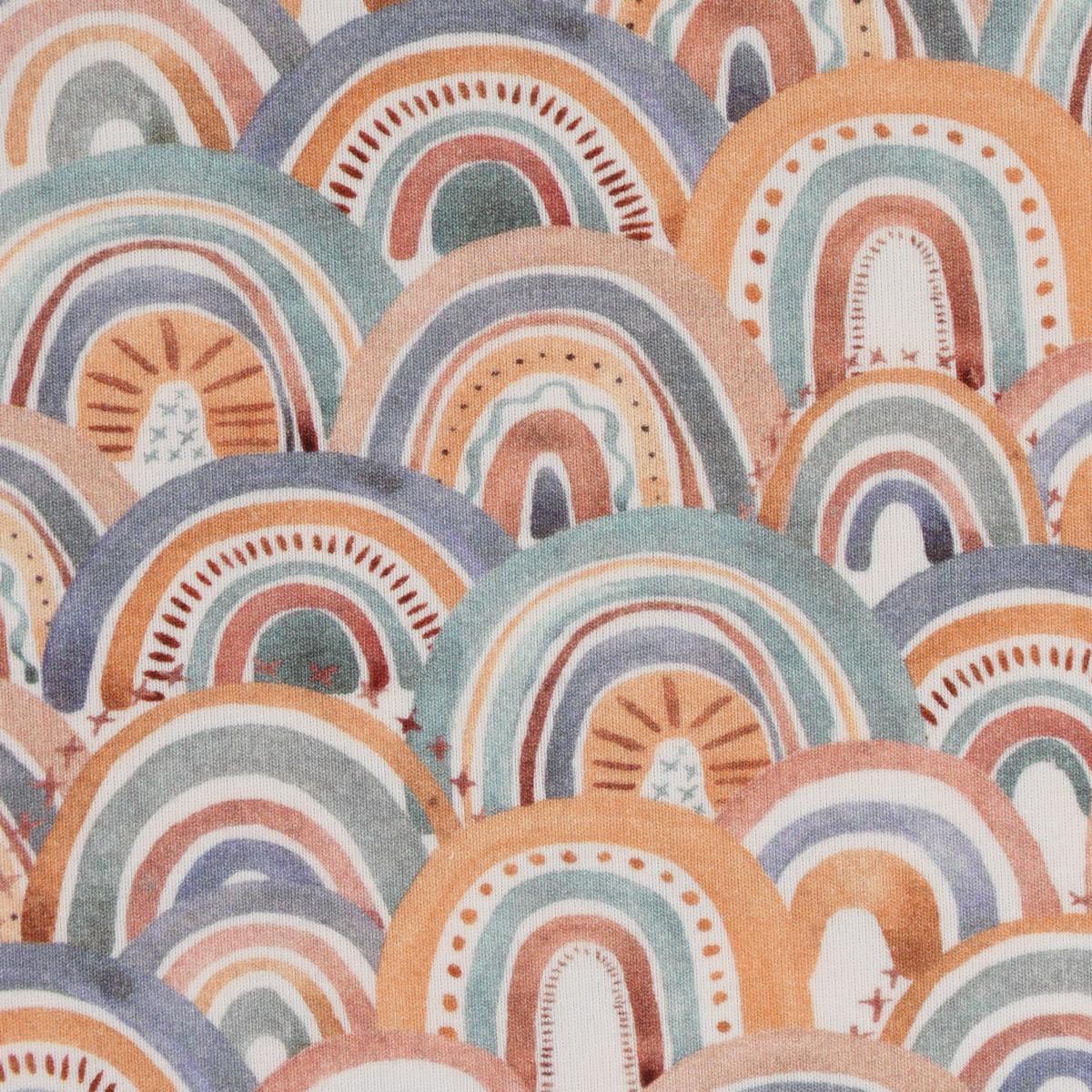 Baumwolljersey Digitaldruck Regenbogen Punkte Striche orange blau grün 1,5m Breite