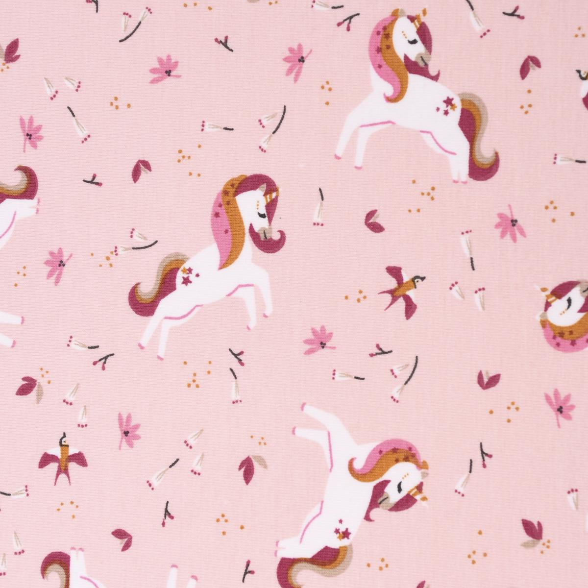 Baumwolljersey Jersey INGELA Einhorn Vögel Blumen rosa weiß ocker 1,5m Breite