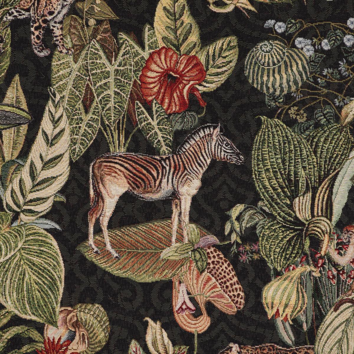 Dekostoff Gobelin Premium Empire Jungle Dschungel schwarz grün rot 1,4m Breite