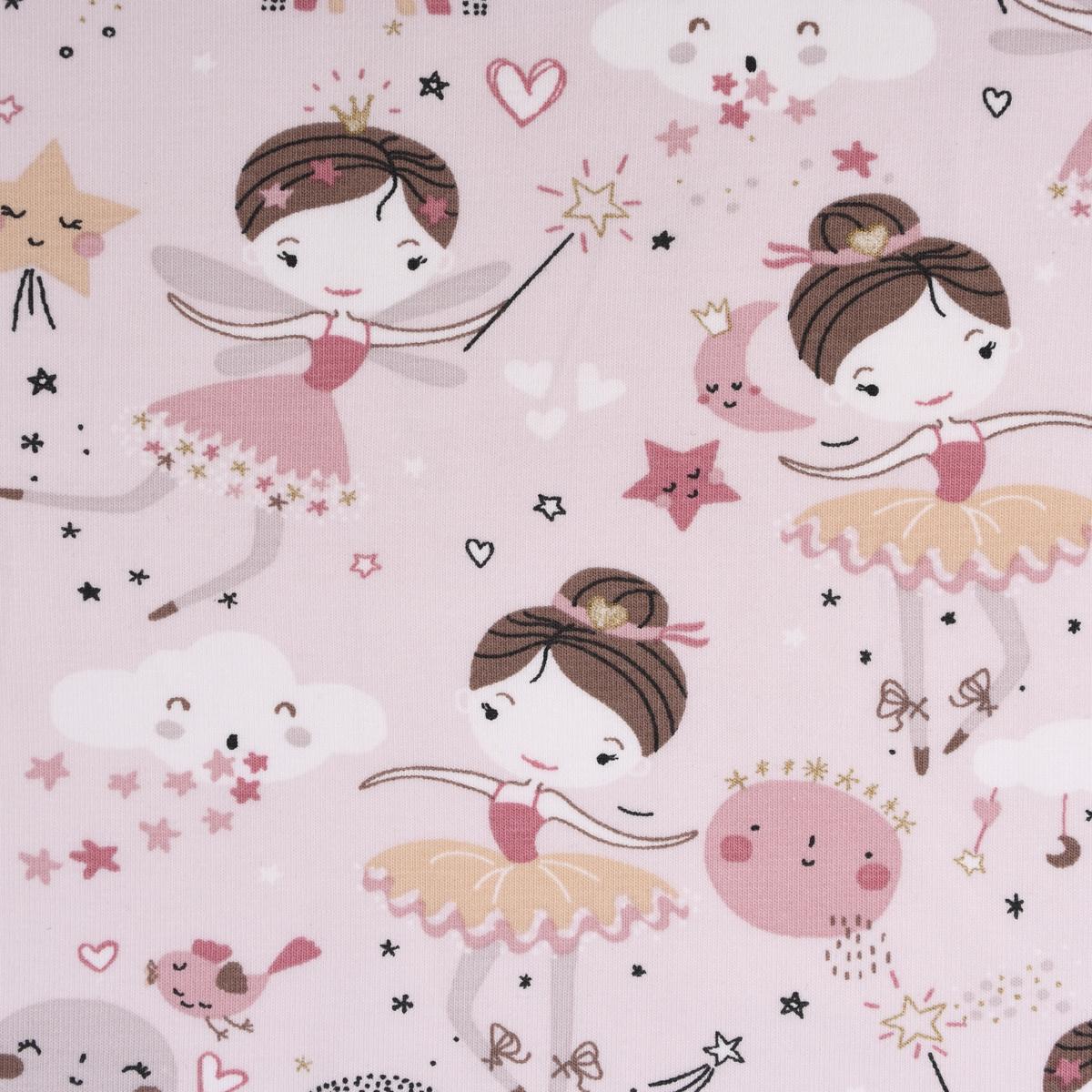 Baumwolljersey Jersey DEMILUNE Fee Sterne Glitzer hellbeige braun weiß rosa goldfarbig 1,5m Breite