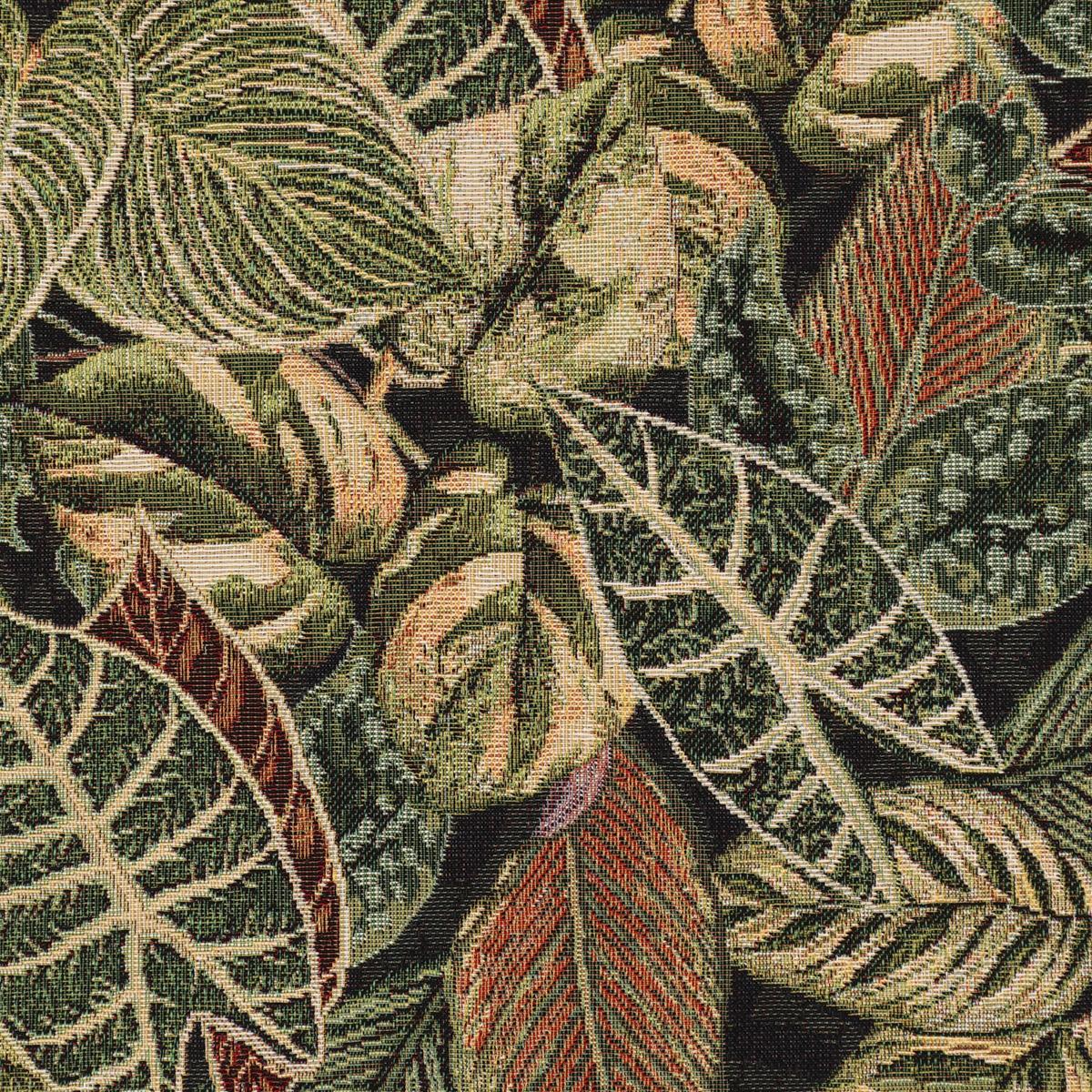 Dekostoff Gobelin Premium Houseplant Jungle Blätter grün schwarz 1,4m Breite