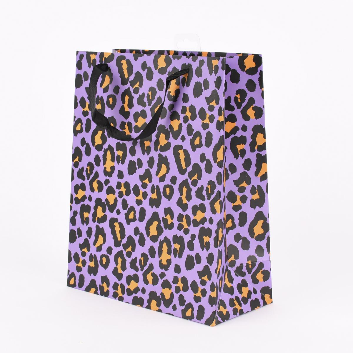Rico Design Geschenktüte groß Leomuster lila schwarz orange  26x32x12cm