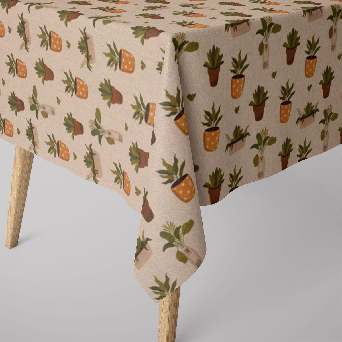 SCHÖNER LEBEN. Tischdecke Blätter Pflanzen Vase Pflanztopf natur gelb grün braun verschiedene Größen