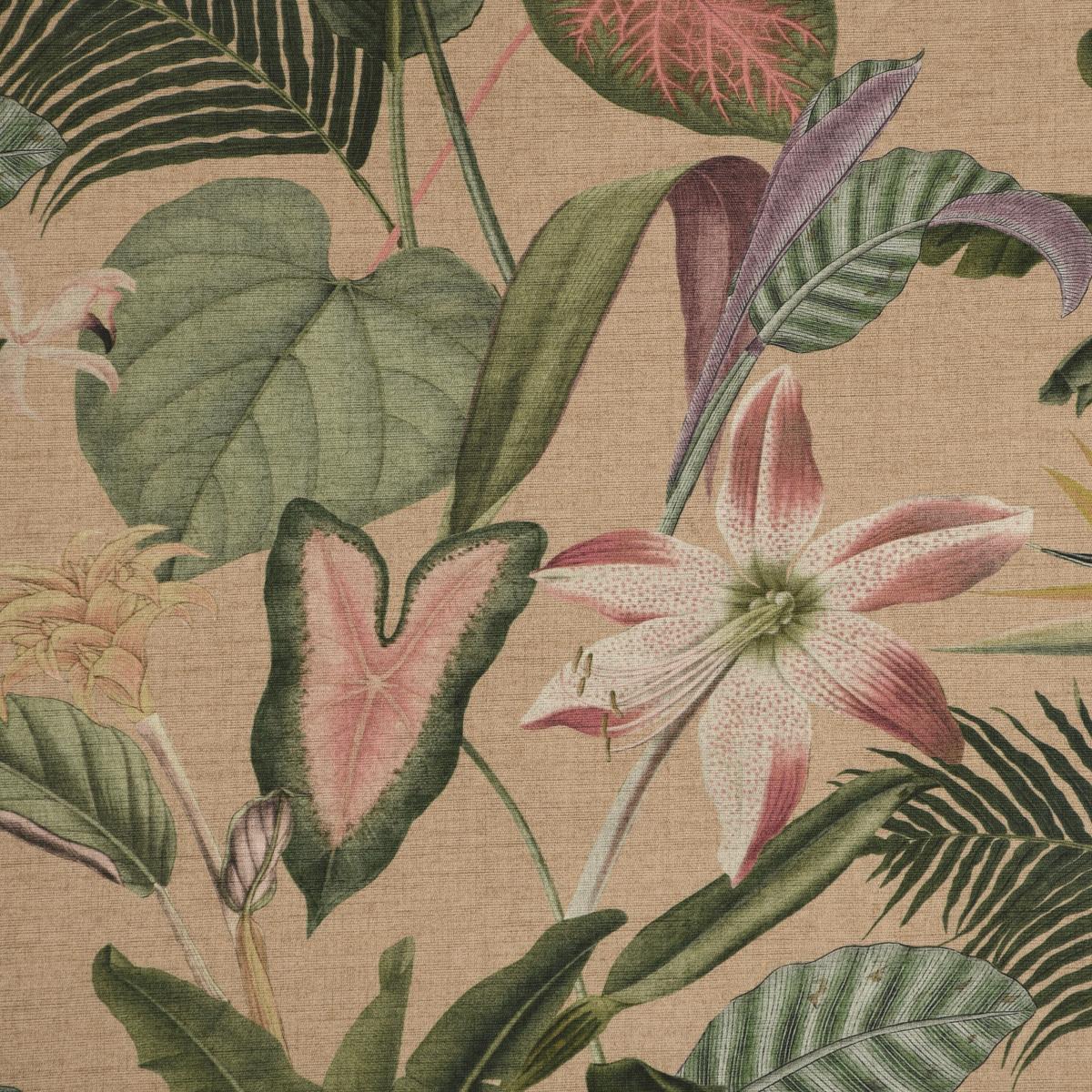 Outdoorstoff Dralon Teflonbeschichtung Romantic Botanic Exotik Blumen beige grün rosa 1,40m Breite