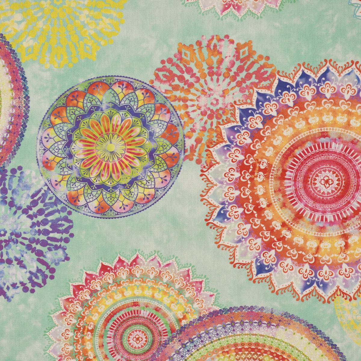 Outdoorstoff Dralon Teflonbeschichtung Mandala Watercolour mint bunt 1,40m Breite