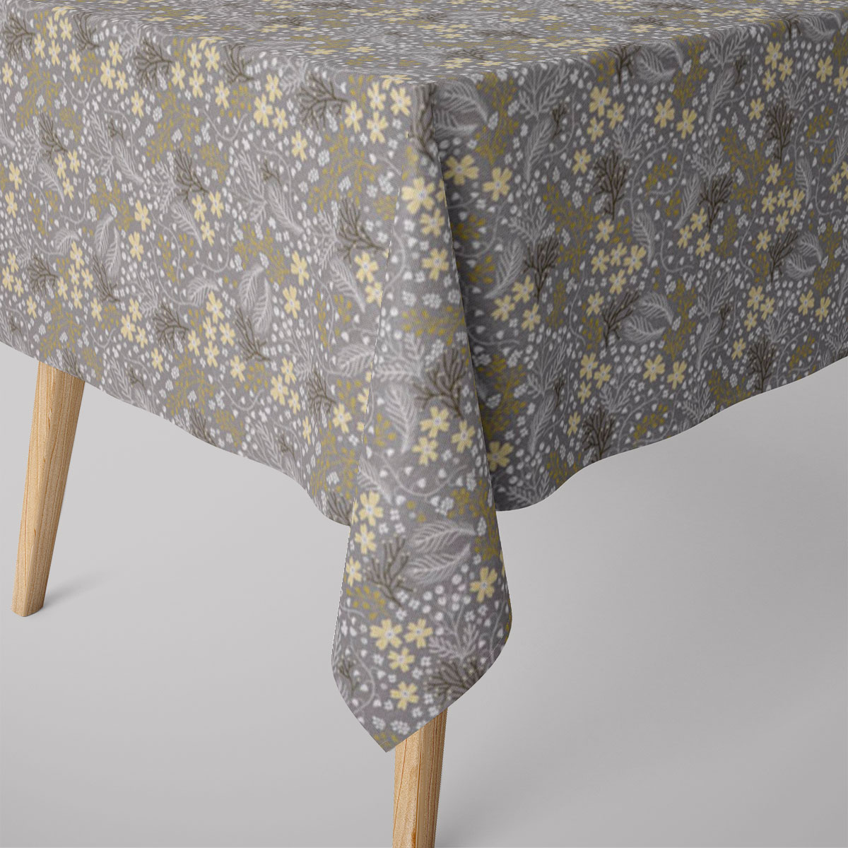 SCHÖNER LEBEN. Tischdecke Blumen Gräser grau gelb verschiedene Größen