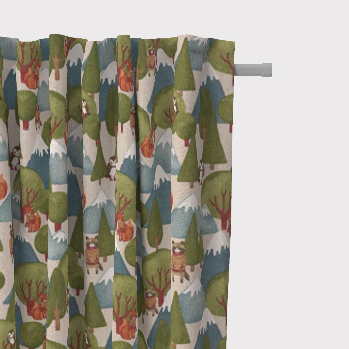 SCHÖNER LEBEN. Vorhang Leinenlook Wald Berge Wintertiere Fuchs Eule Waschbär natur grün blau  245cm oder Wunschlänge