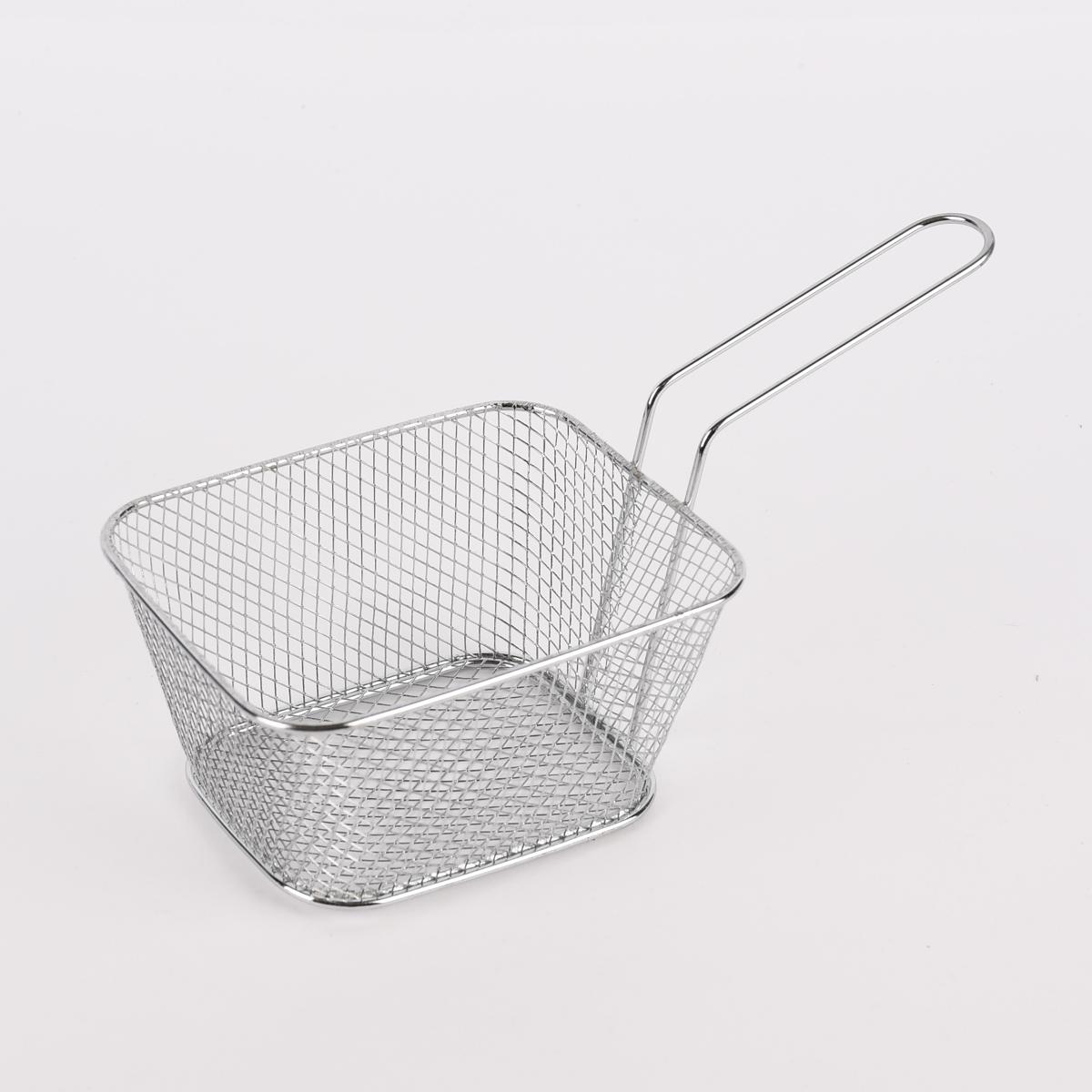 Frittierkorb Servierkorb Metall silber 24x11,5x11,5cm