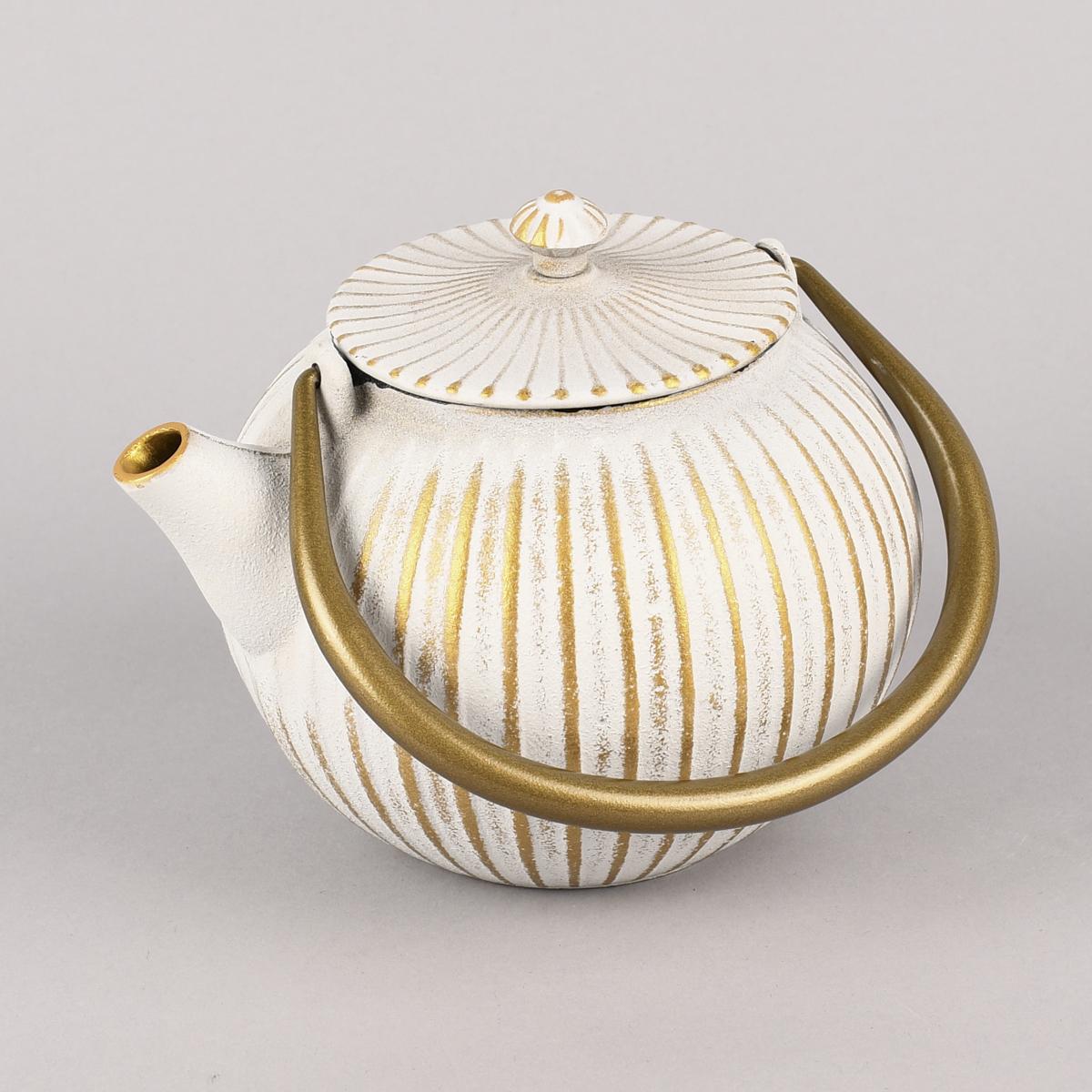 Japanische Gusseisen Teekanne Rillen weiß goldfarbig 1,1 L