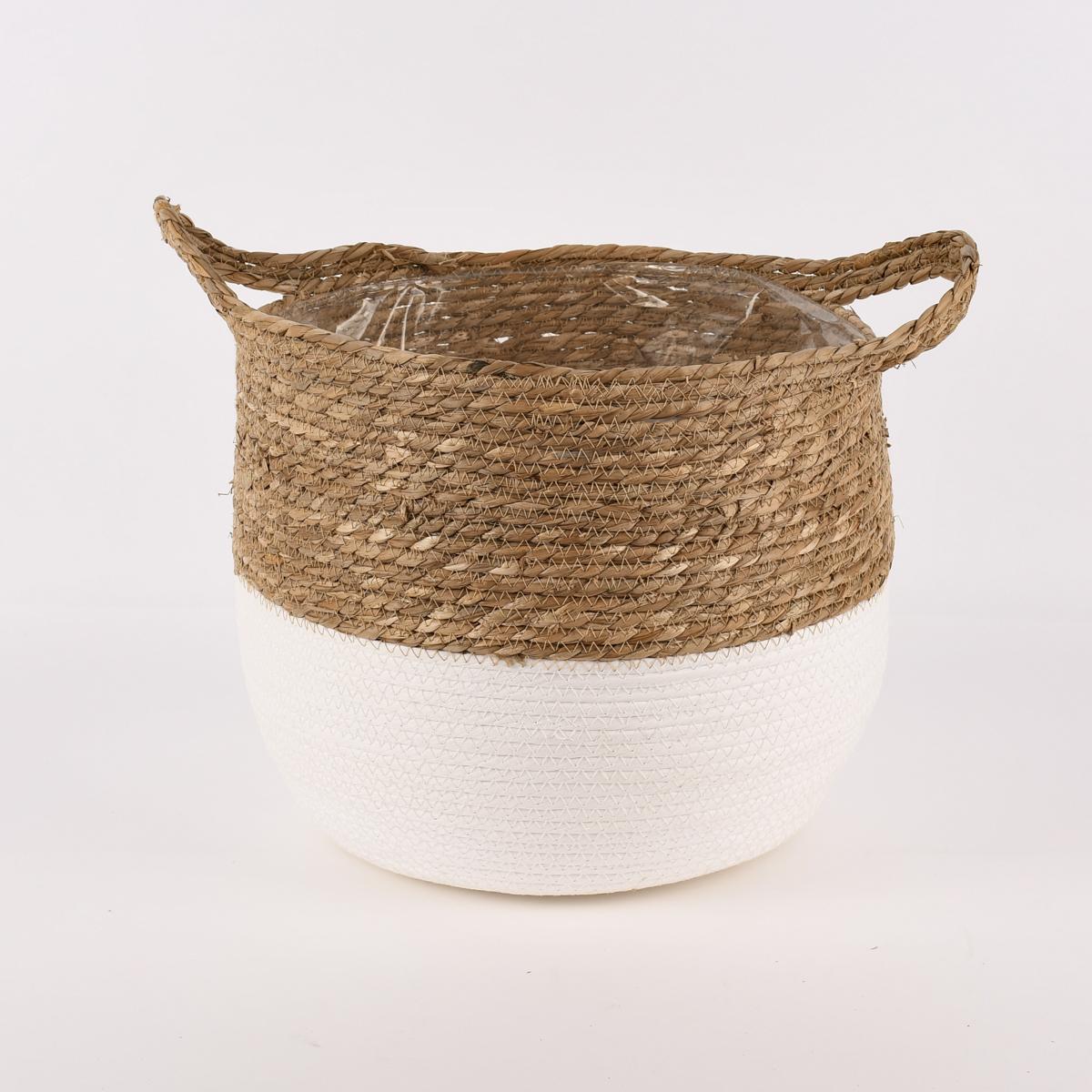 Korb aus Seegras zweifarbig rund mit Henkeln natur weiß verschiedene Größen