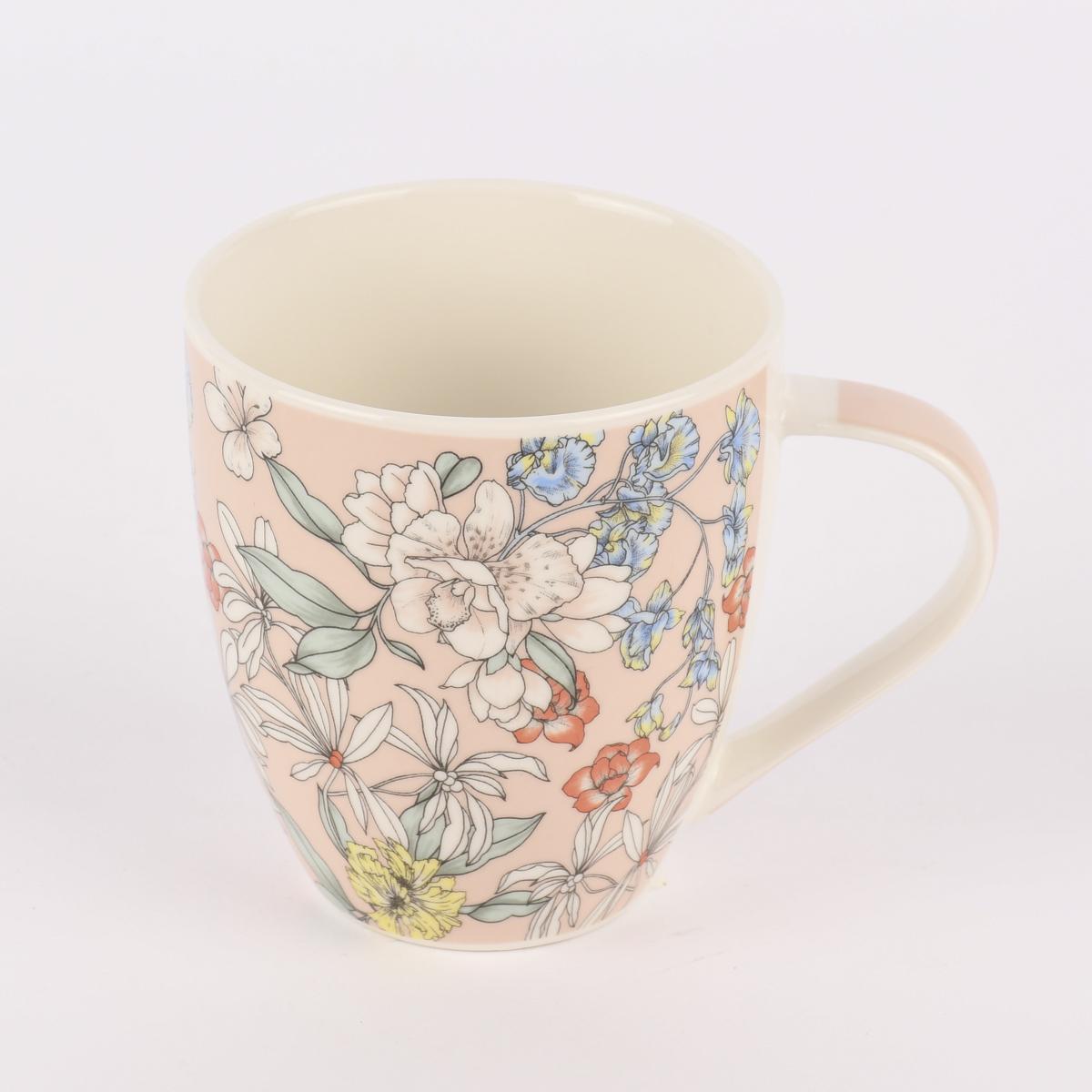 XL Tasse Floral Porzellan verschiedene Farben 400ml
