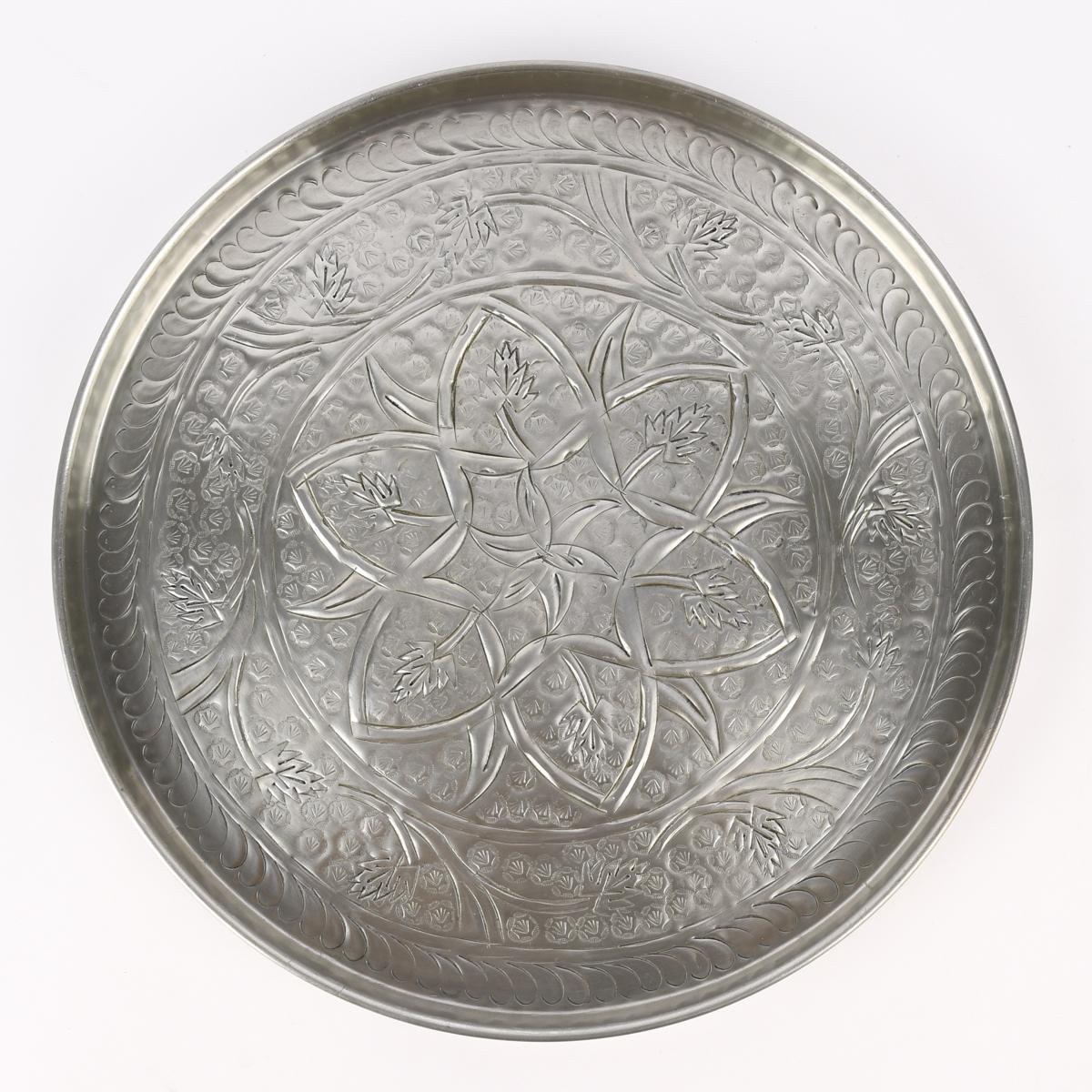 Deko Tablett mit Blumenmandala Aluminium silberfarbig 39cm