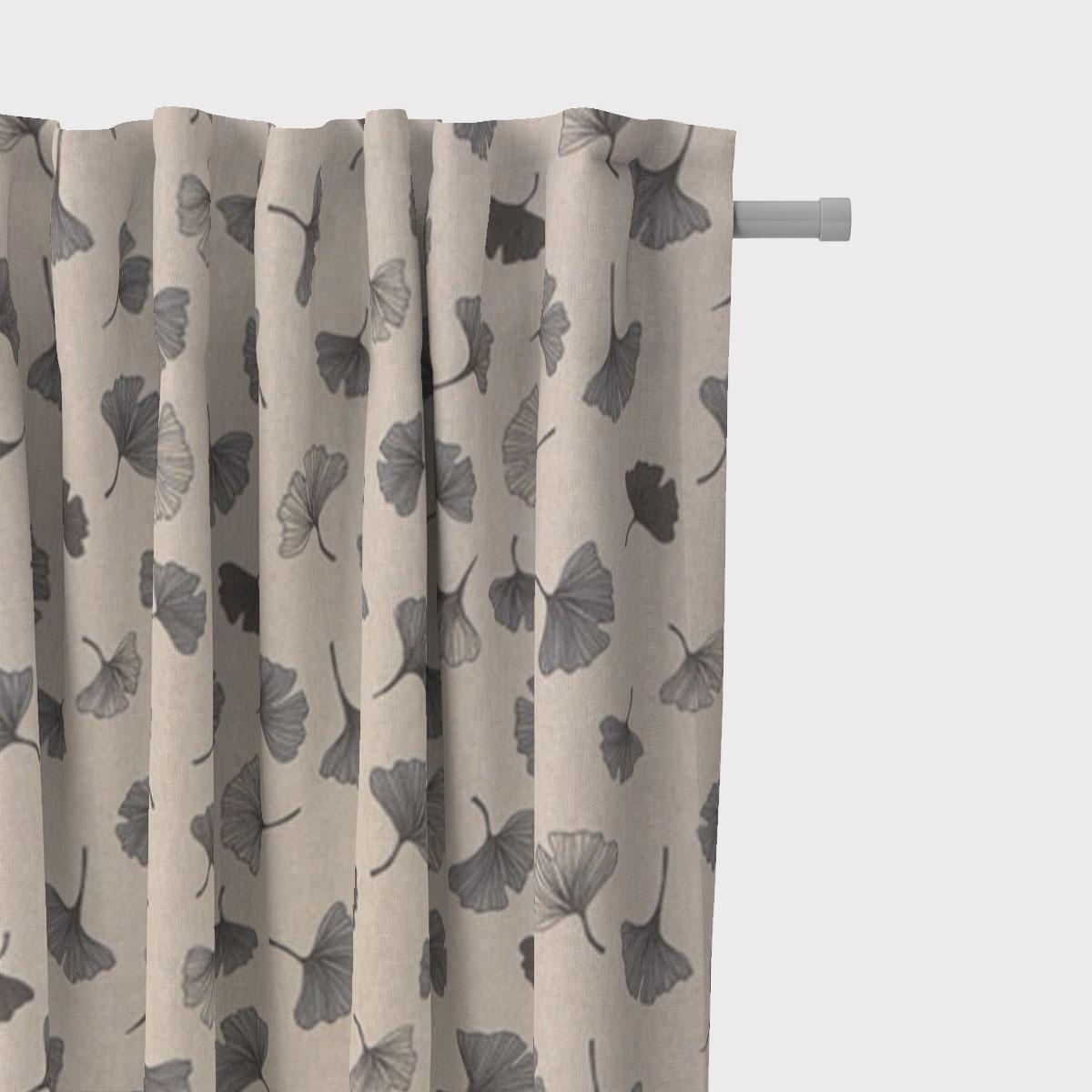 SCHÖNER LEBEN. Vorhang Leinenlook Ginko Leaf Ginkgo Blatt natur grau 245cm oder Wunschlänge